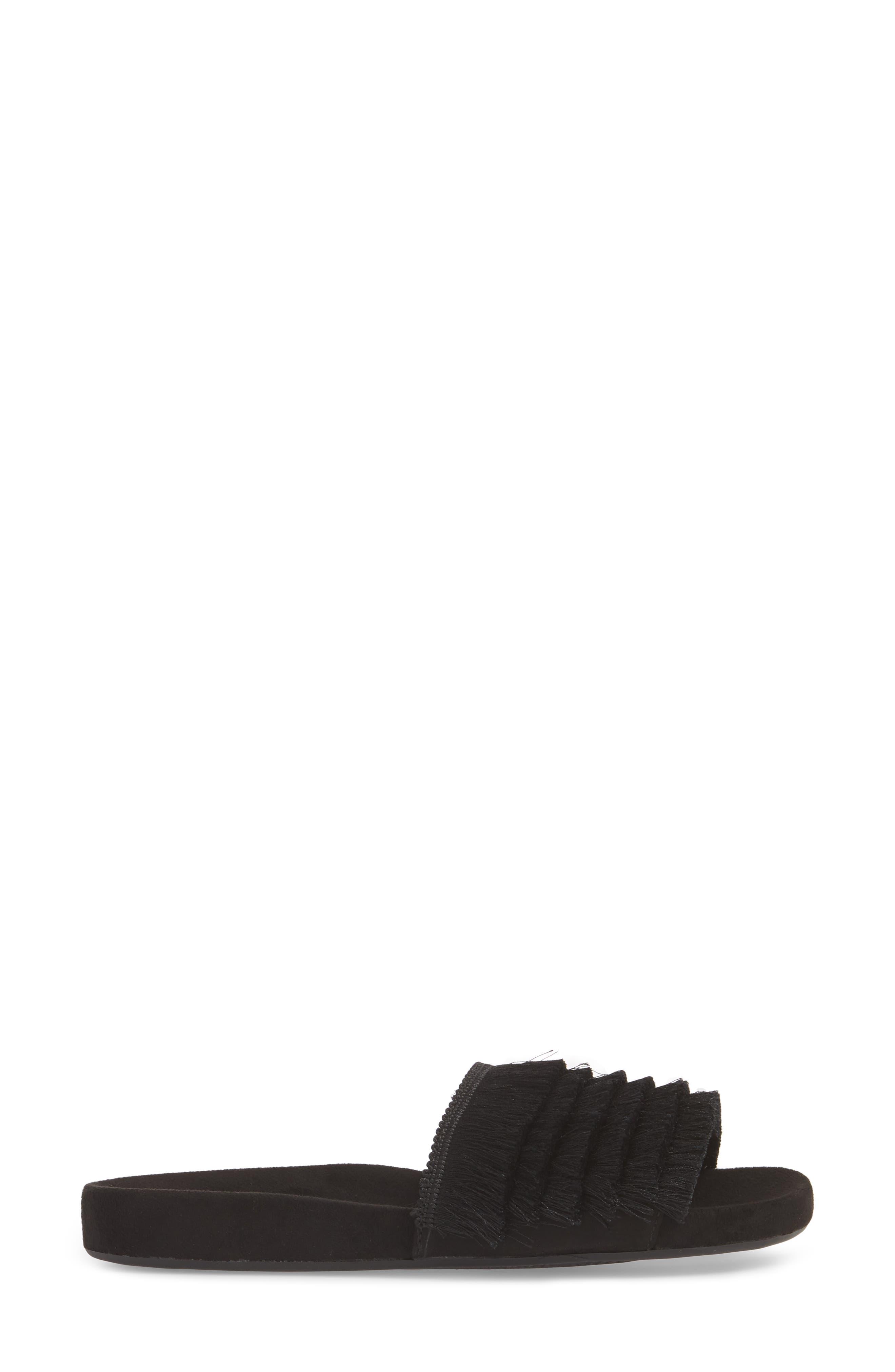 Hun Fringe Slide Sandal,                             Alternate thumbnail 3, color,                             Black