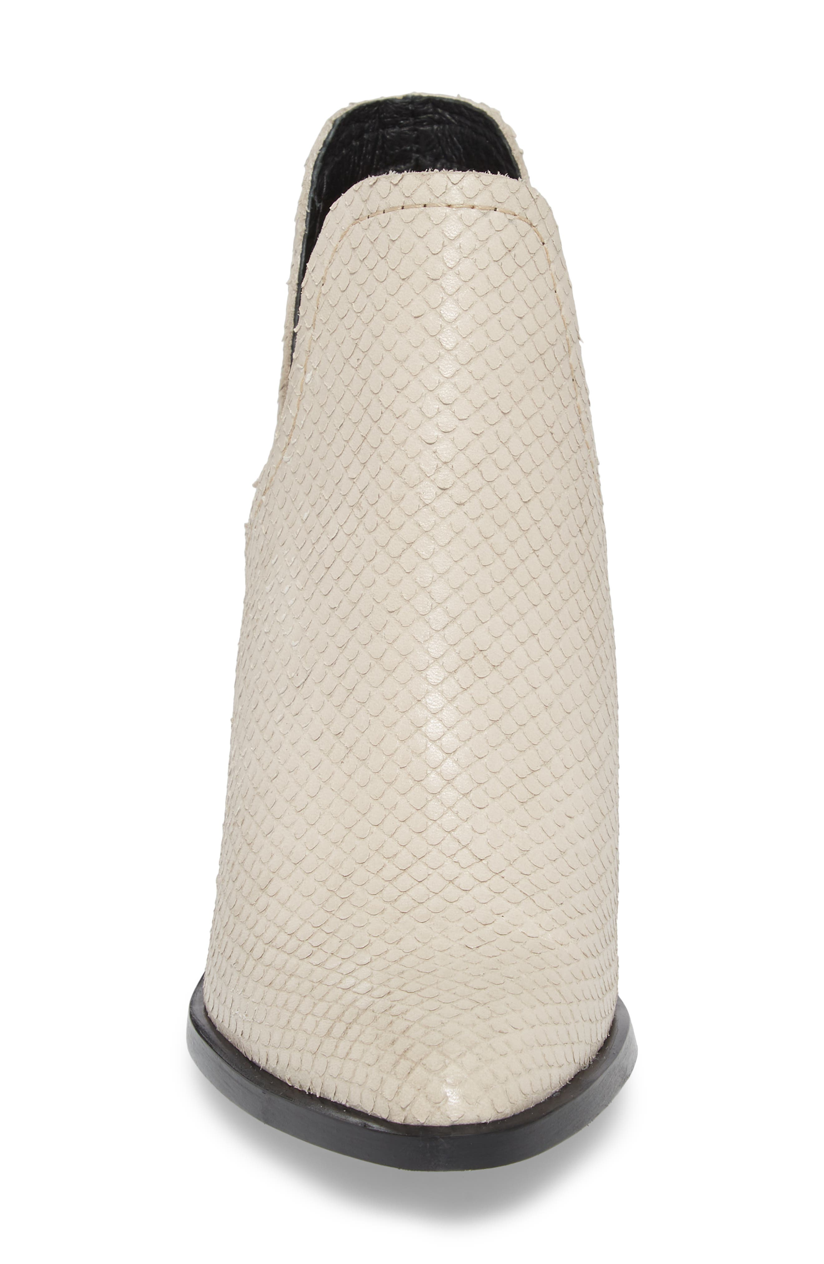Petra Open Side Bootie,                             Alternate thumbnail 4, color,                             White Snake Print