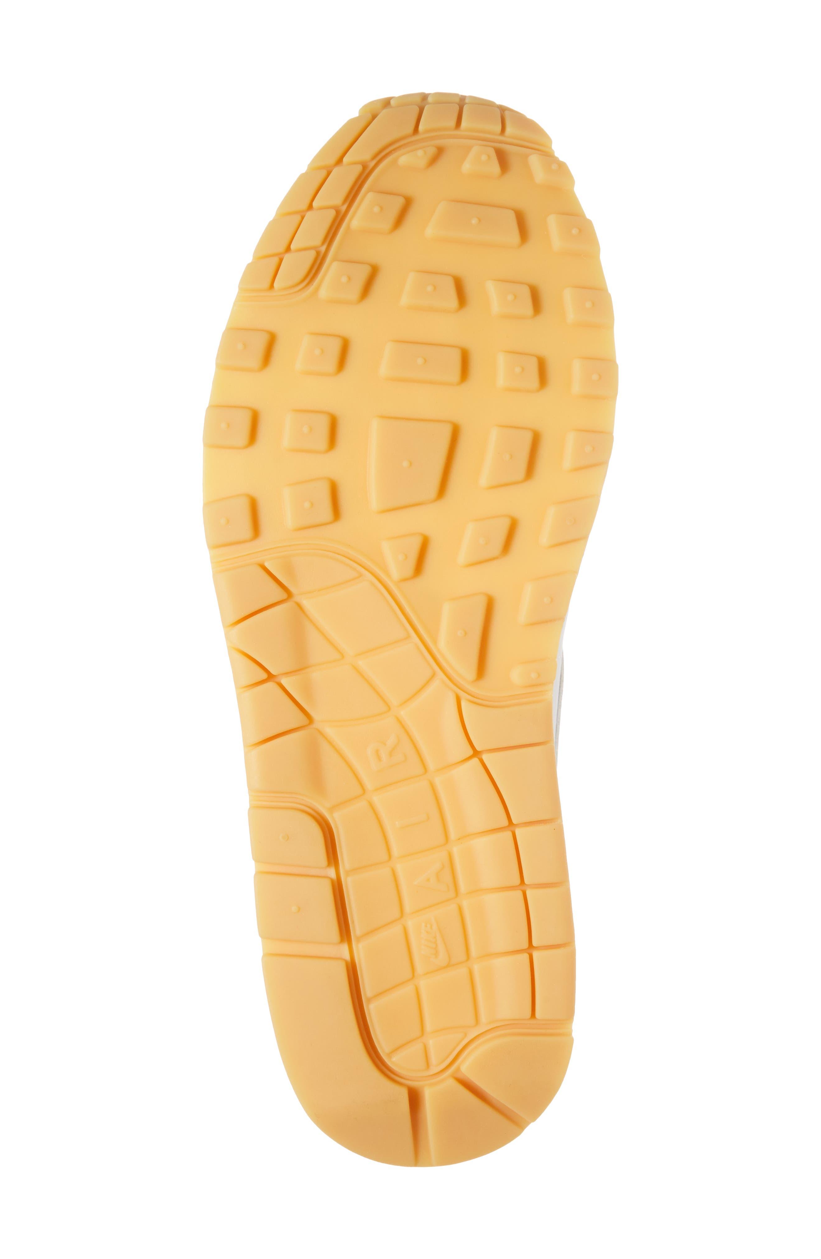 Air Max 1 Sneaker,                             Alternate thumbnail 6, color,                             White/ Pure Platinum/ Yellow