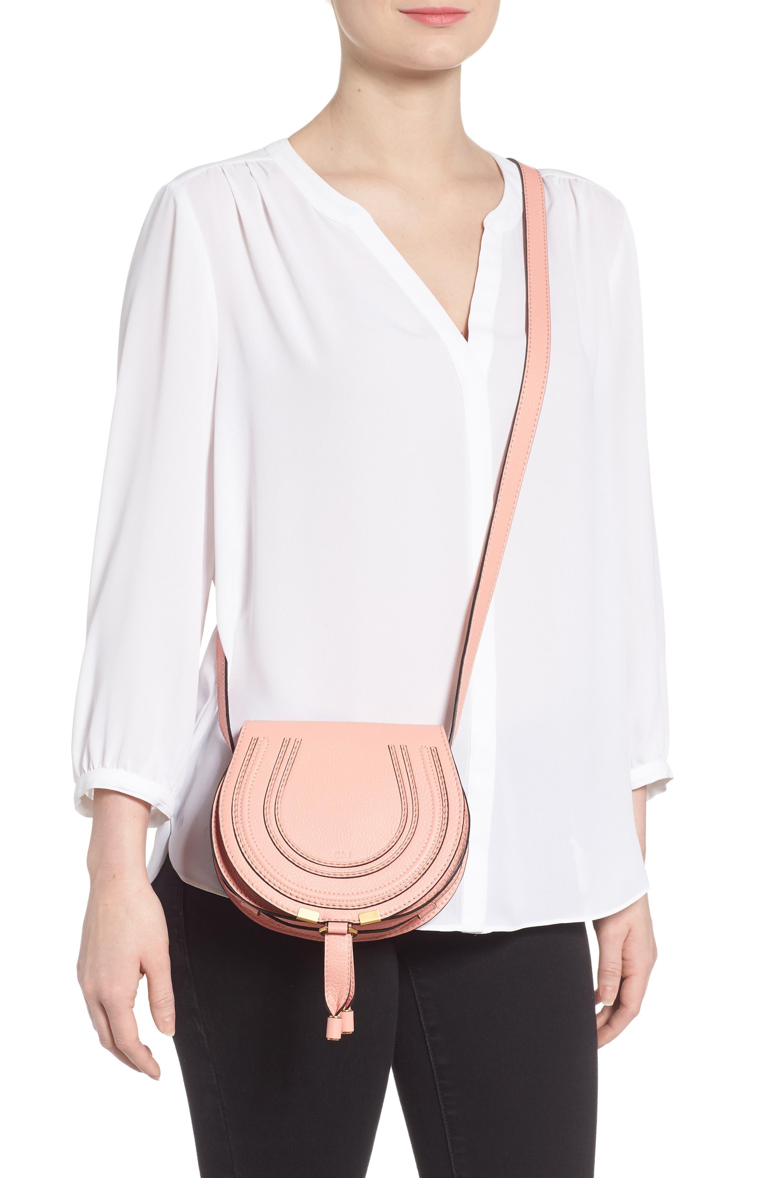 'Mini Marcie' Leather Crossbody Bag,                             Alternate thumbnail 2, color,                             Ideal Blush