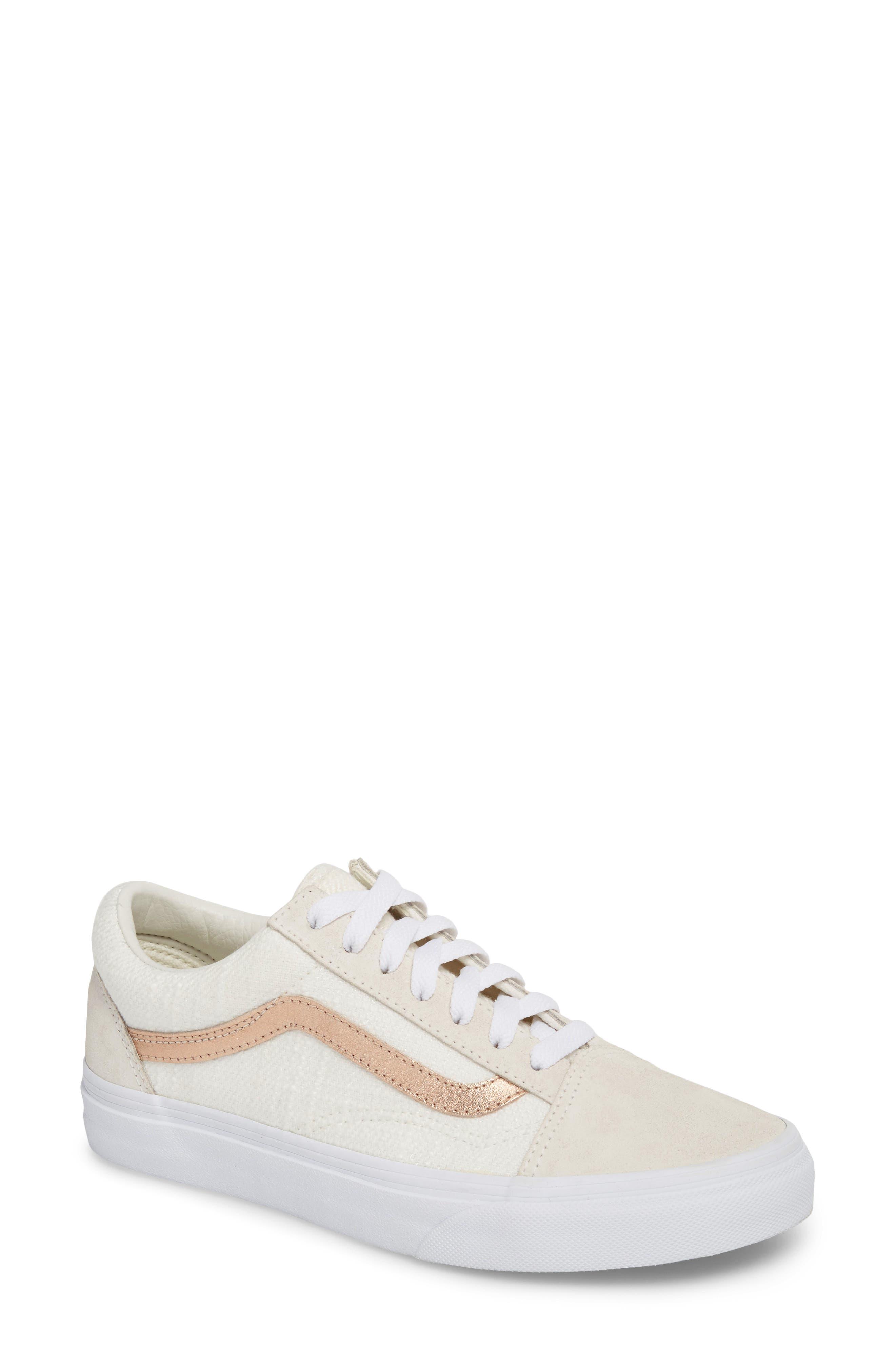 Old Skool Sneaker,                         Main,                         color, Blanc De Blanc/ Rose Gold