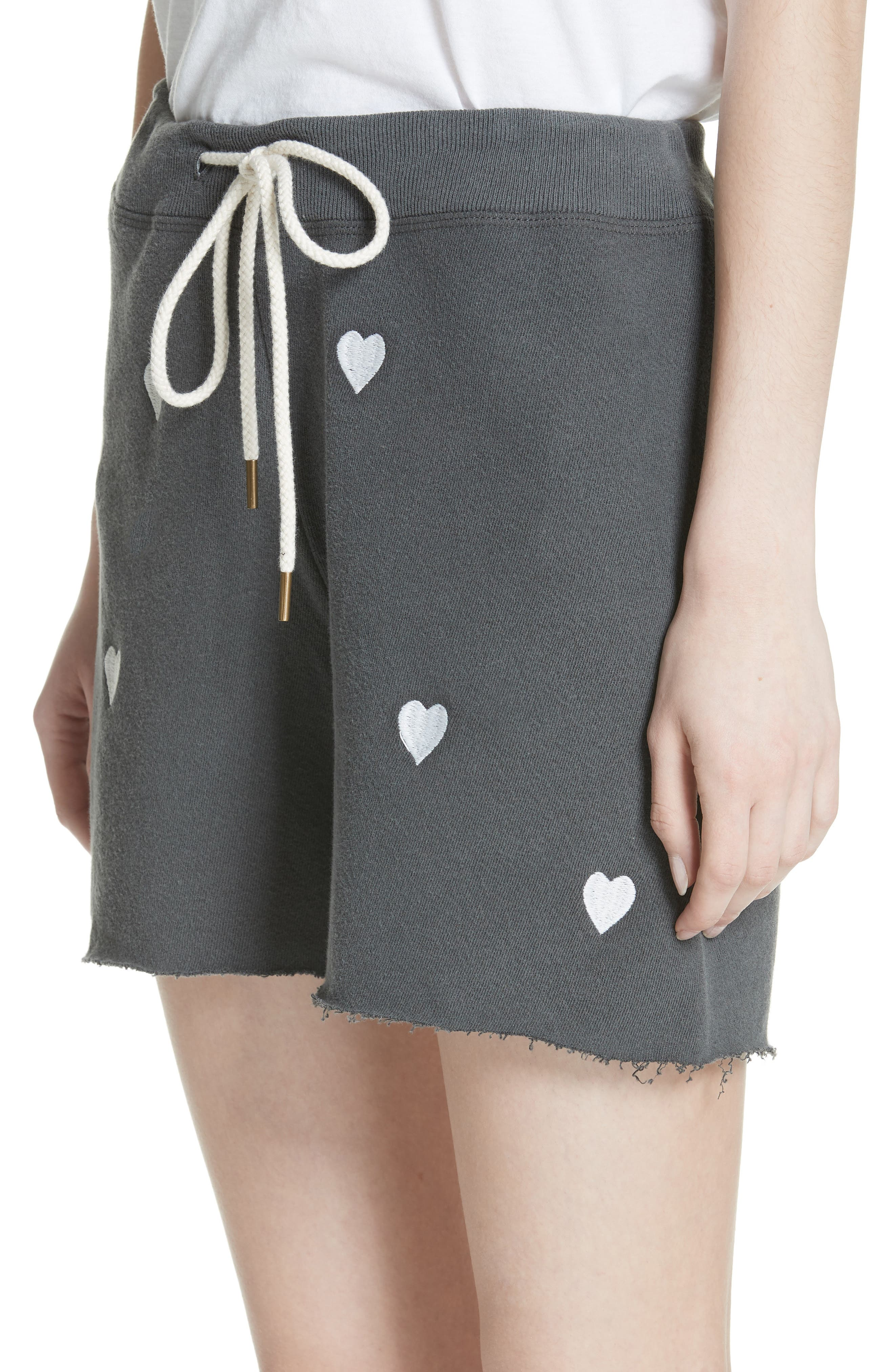 The Sweat Shorts,                             Alternate thumbnail 4, color,                             Washed Black/ White Hearts