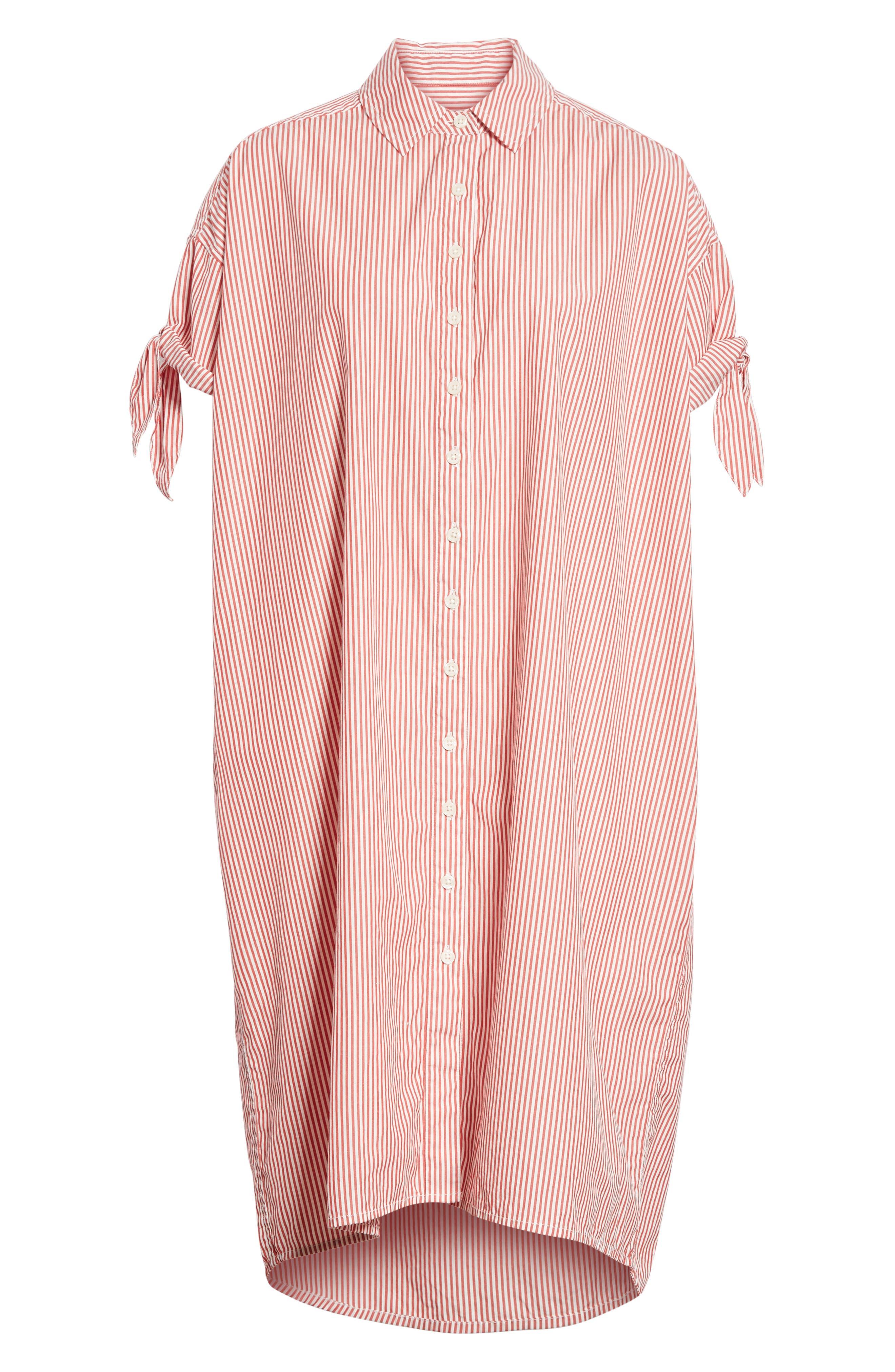 The Tie Sleeve Camper Shirtdress,                             Alternate thumbnail 6, color,                             Poppy Stripe