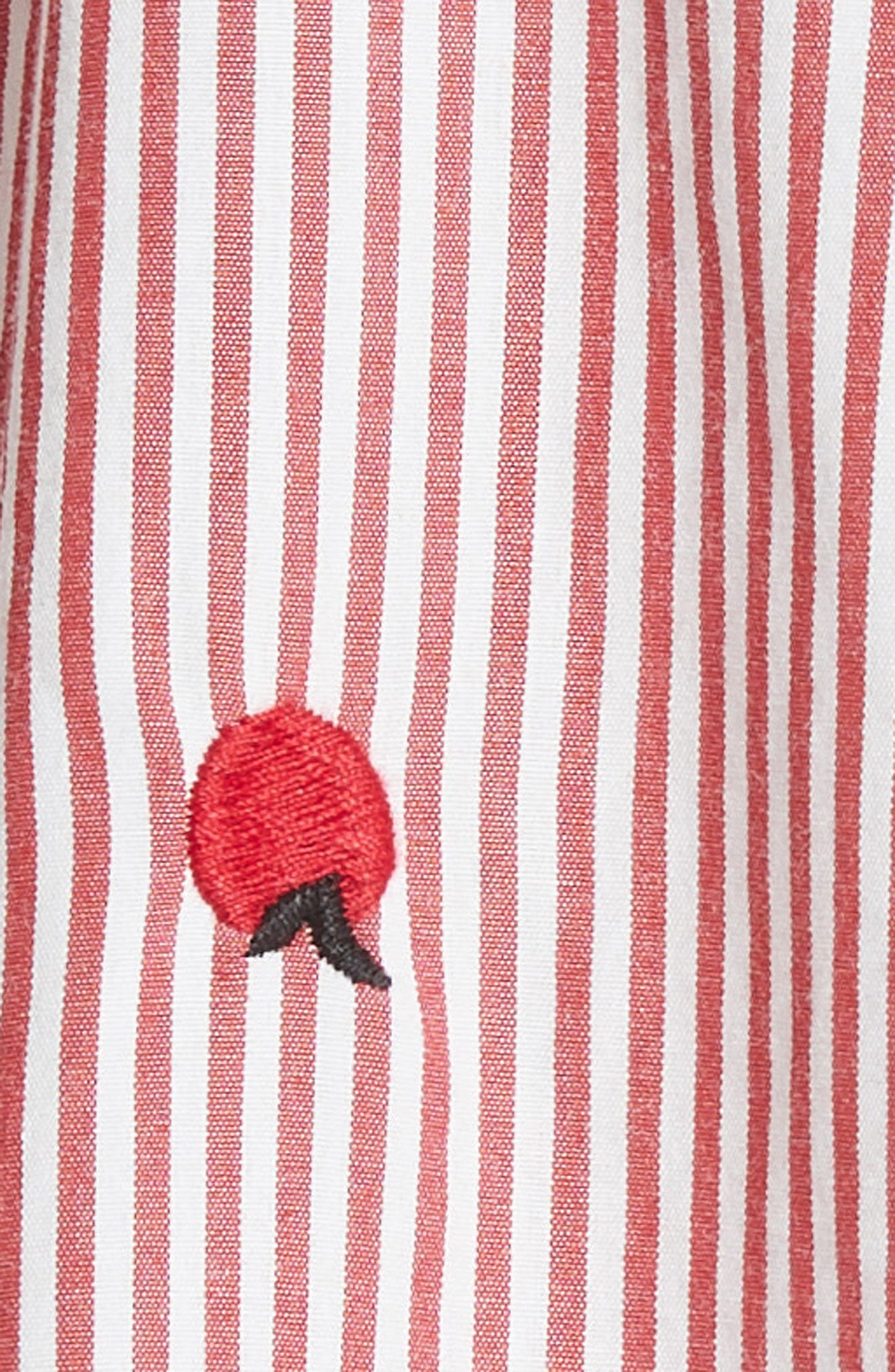 The Campus Shirt,                             Alternate thumbnail 5, color,                             Poppy Stripe/ Apple Embroidery