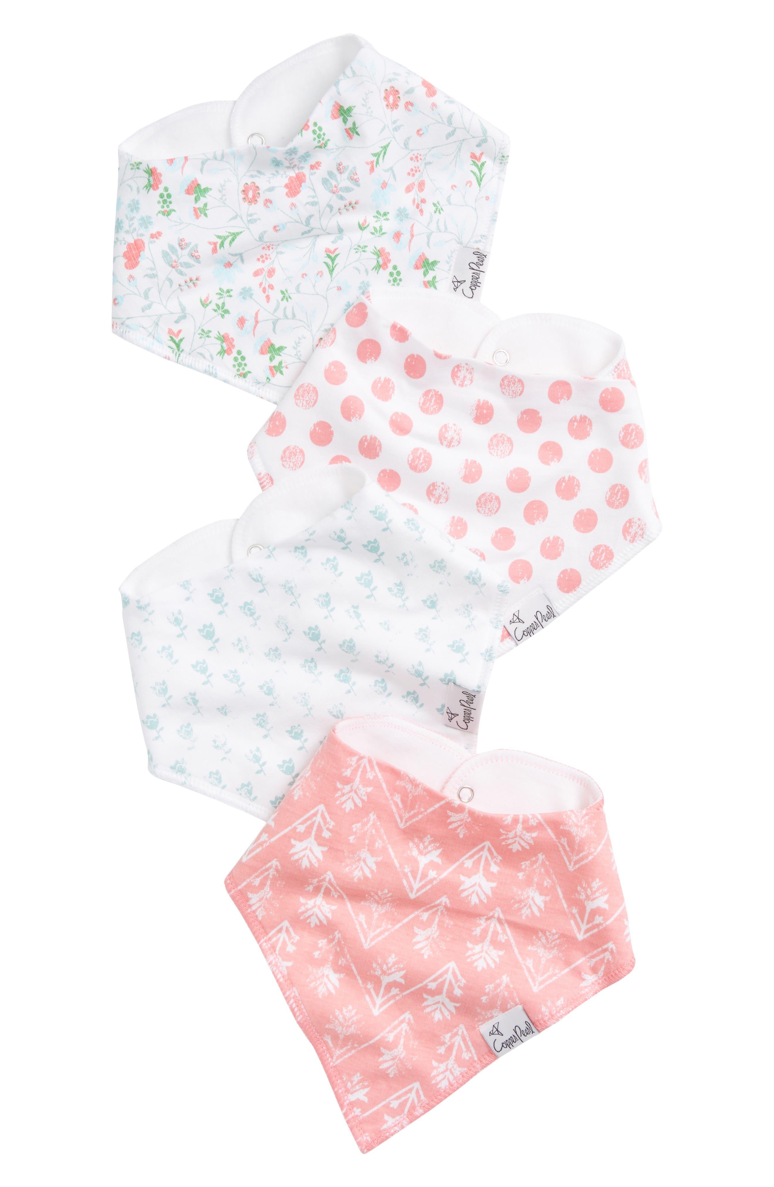 Alternate Image 1 Selected - Copper Pearl 4-Pack Bandana Bibs (Baby)