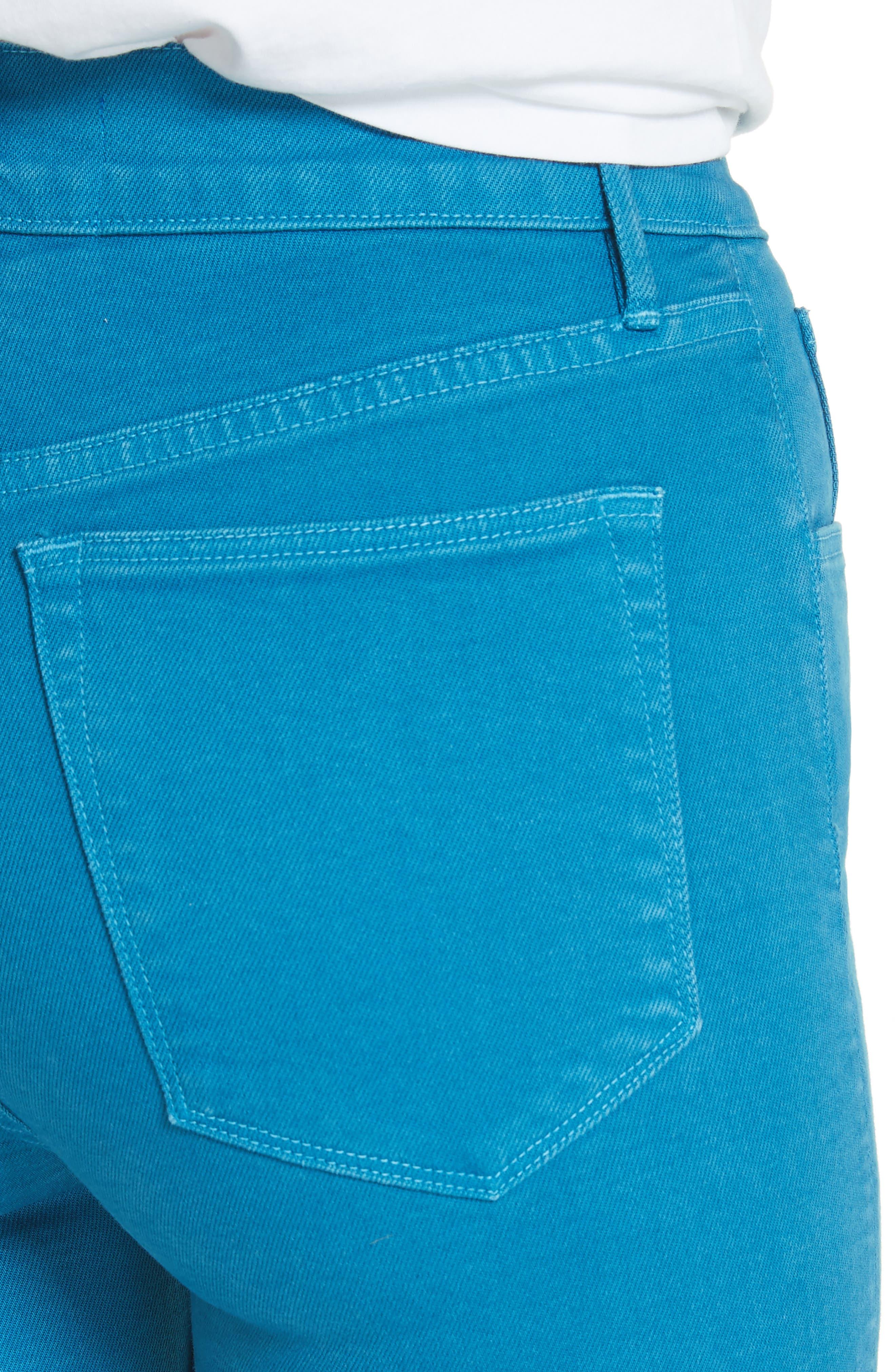 W4 Shelter Wide Leg Crop Jeans,                             Alternate thumbnail 4, color,                             Peacock Blue