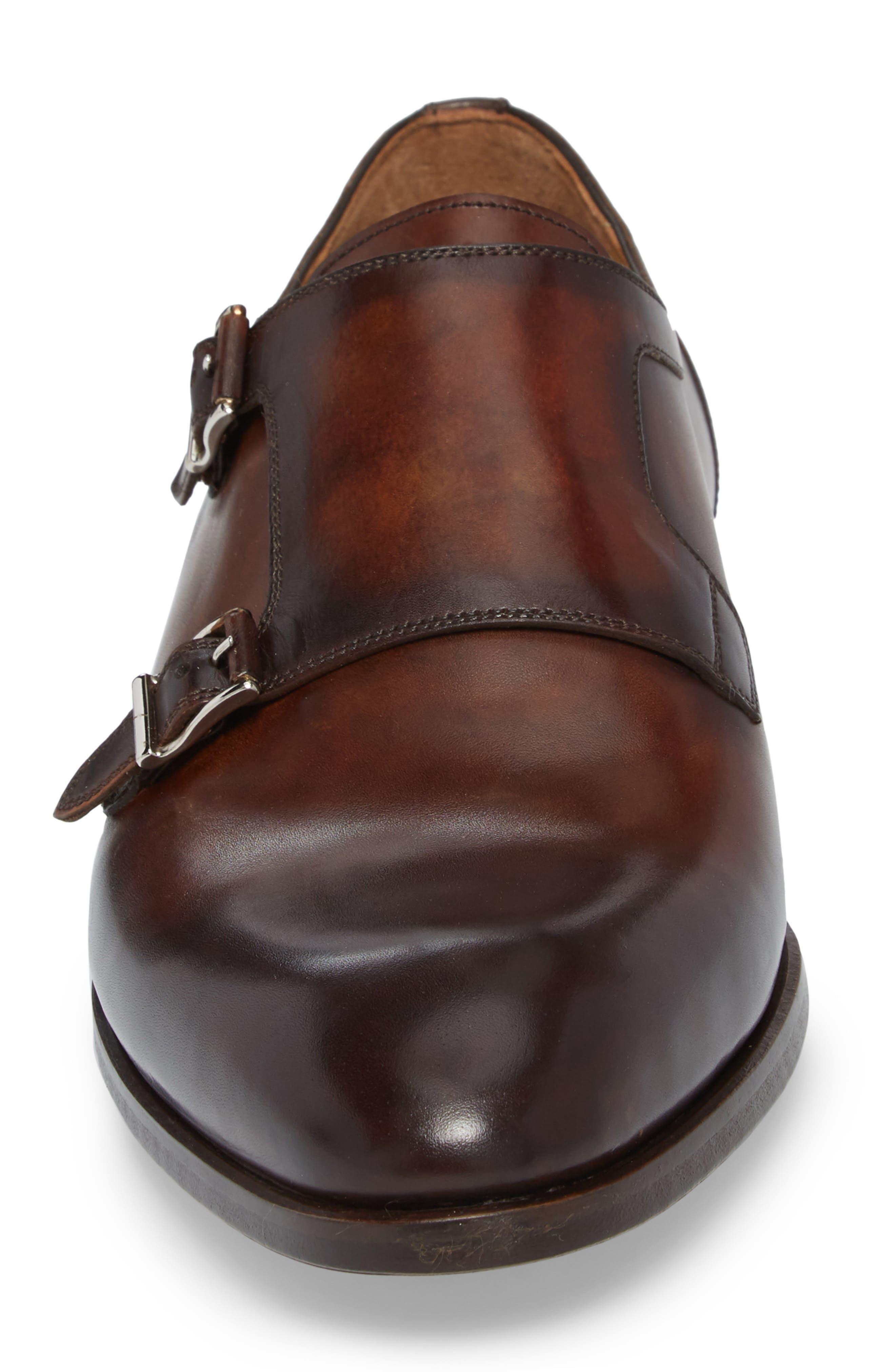 Pratt Double Strap Monk Shoe,                             Alternate thumbnail 4, color,                             Tabaco Leather