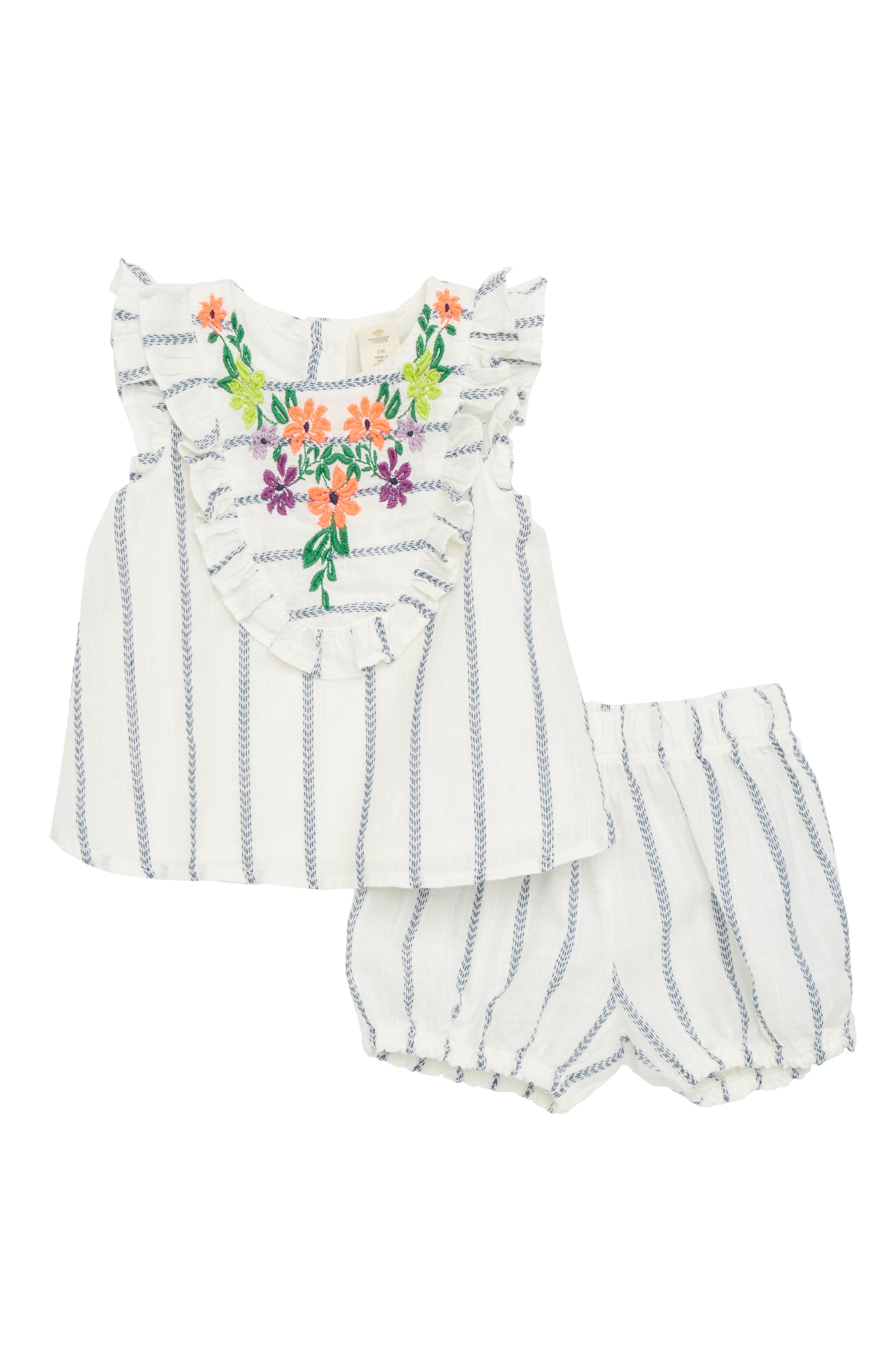 Embroidered Ruffle Dress,                         Main,                         color, White- Blue Stripe