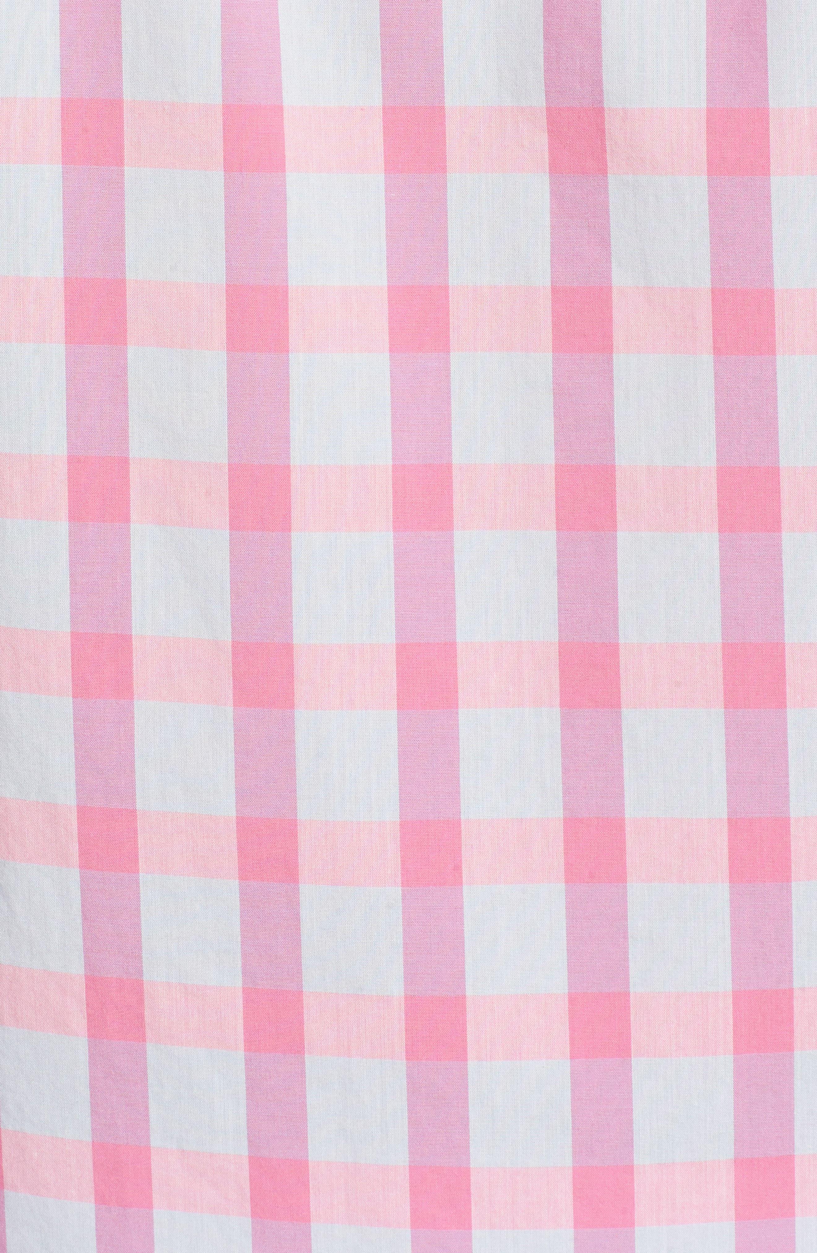 Summerweight Slim Fit Check Sport Shirt,                             Alternate thumbnail 5, color,                             Harris Check - Pink Rocket