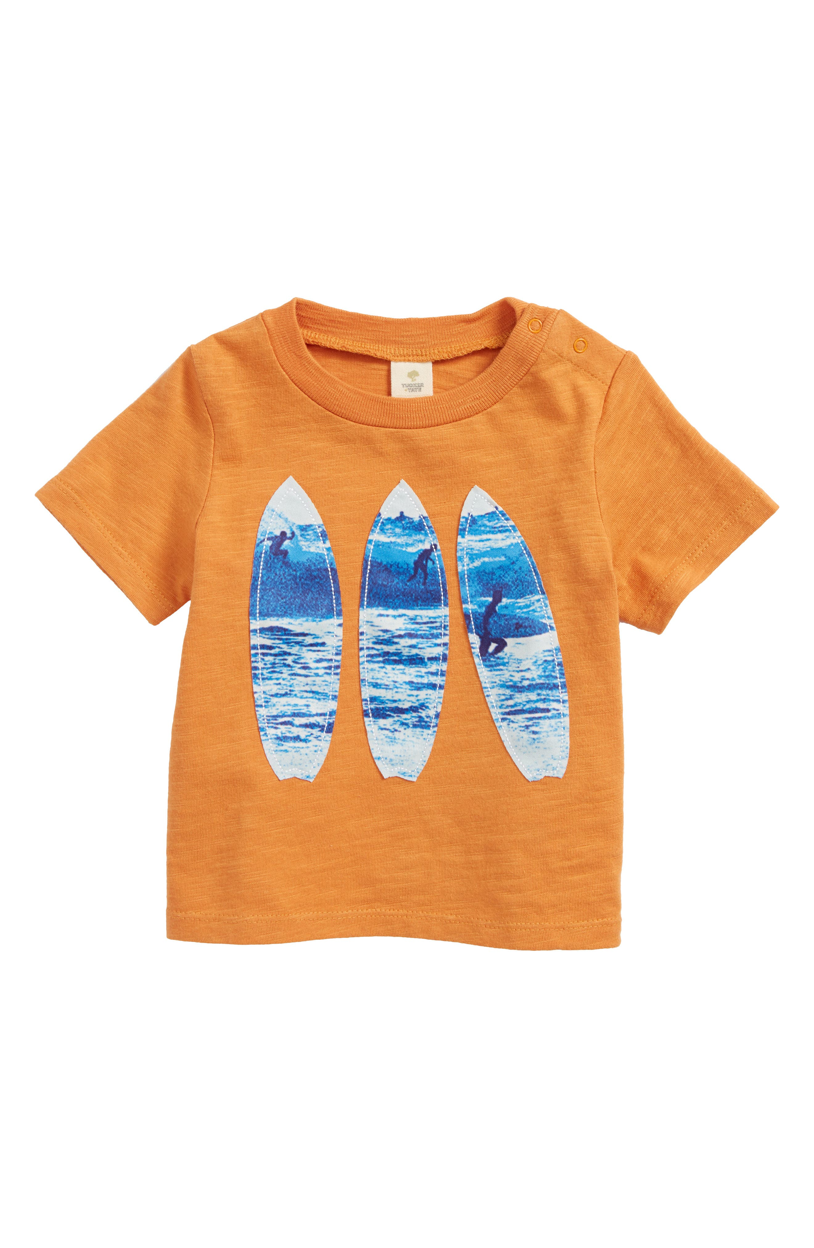 Surfboard Appliqué T-Shirt,                         Main,                         color, Orange Glaze Surfboards