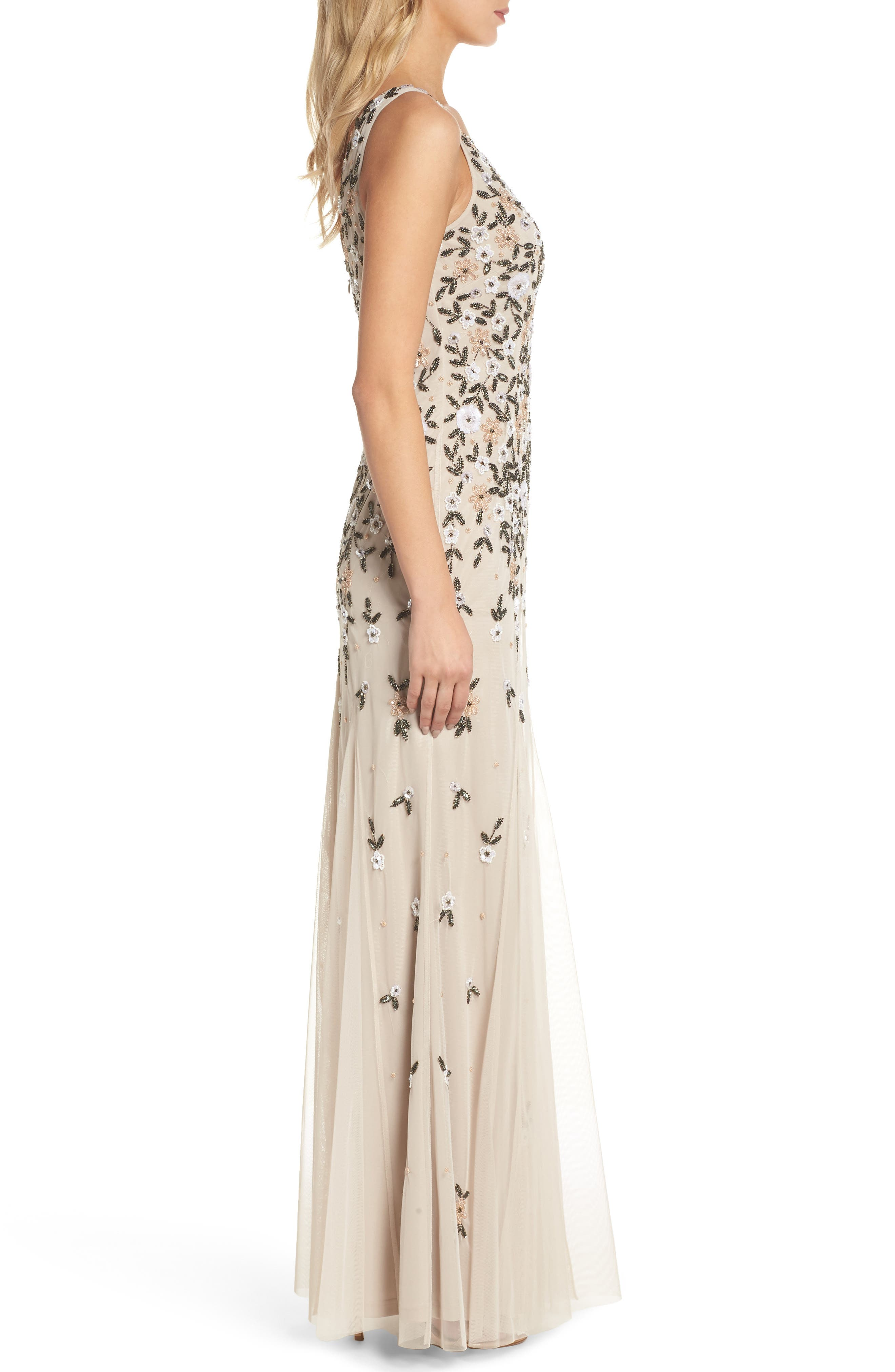 Beaded Floral Trumpet Gown,                             Alternate thumbnail 3, color,                             Biscotti
