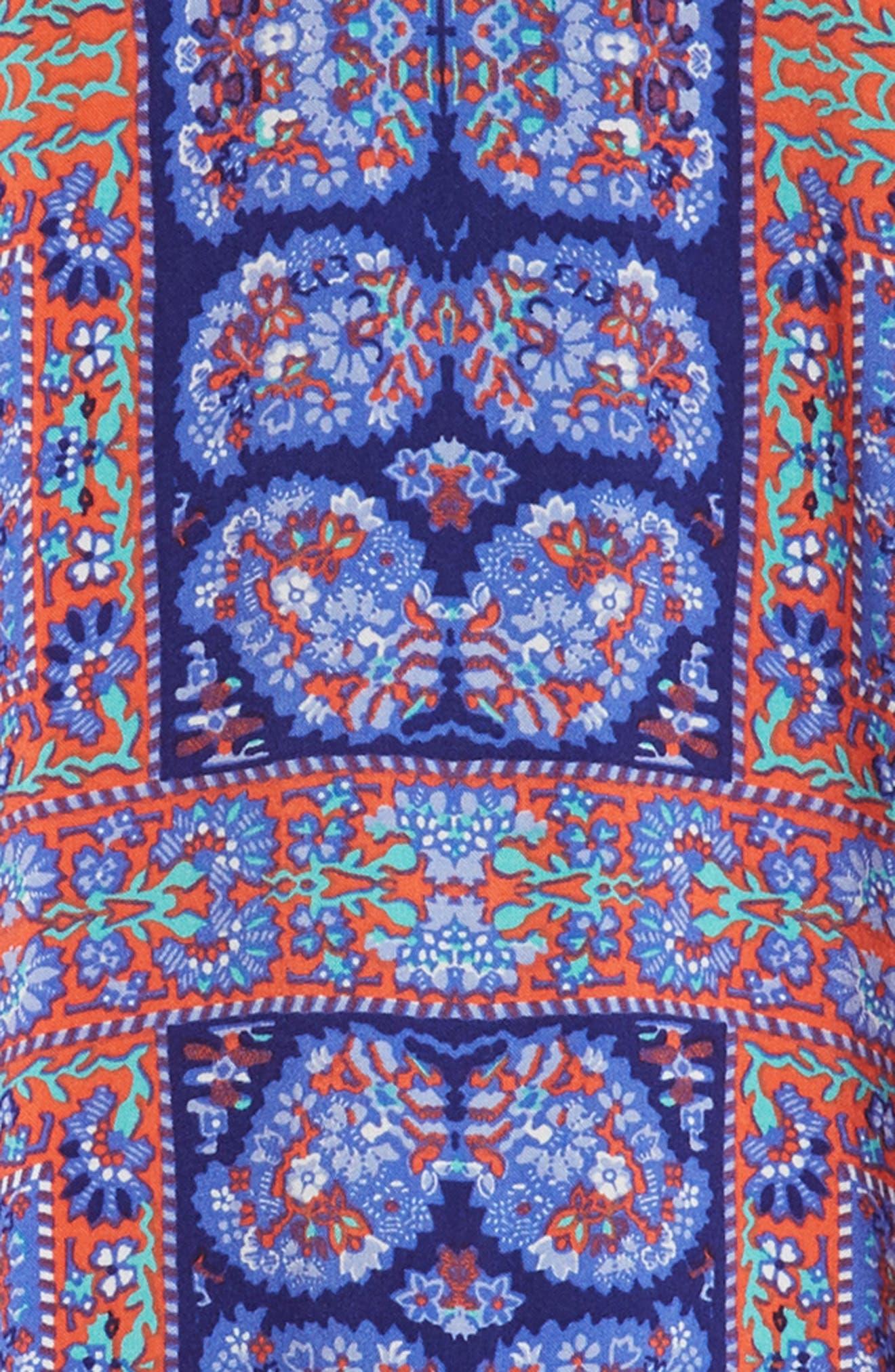 Off-Shoulder Ruffle Dress,                             Alternate thumbnail 3, color,                             Navy Ribbon Framed Floral