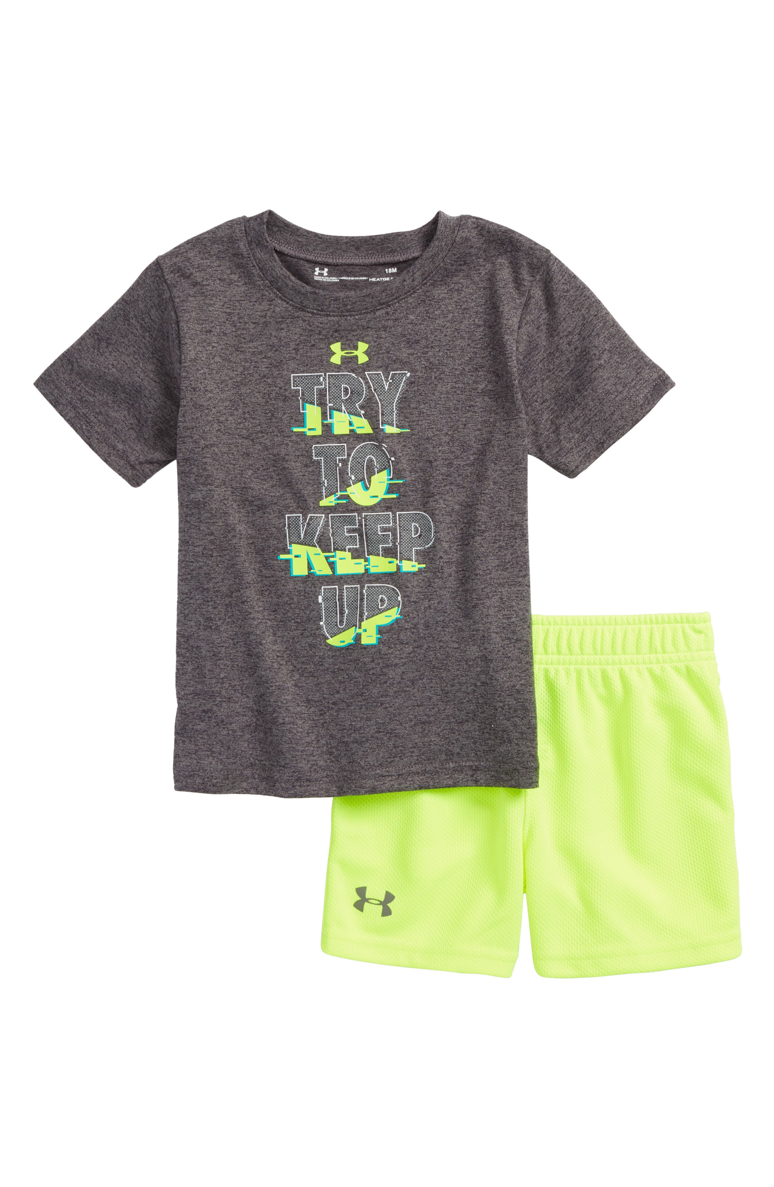 Try To Keep Up Graphic T-Shirt & Shorts Set,                             Main thumbnail 1, color,                             Carbon Heather