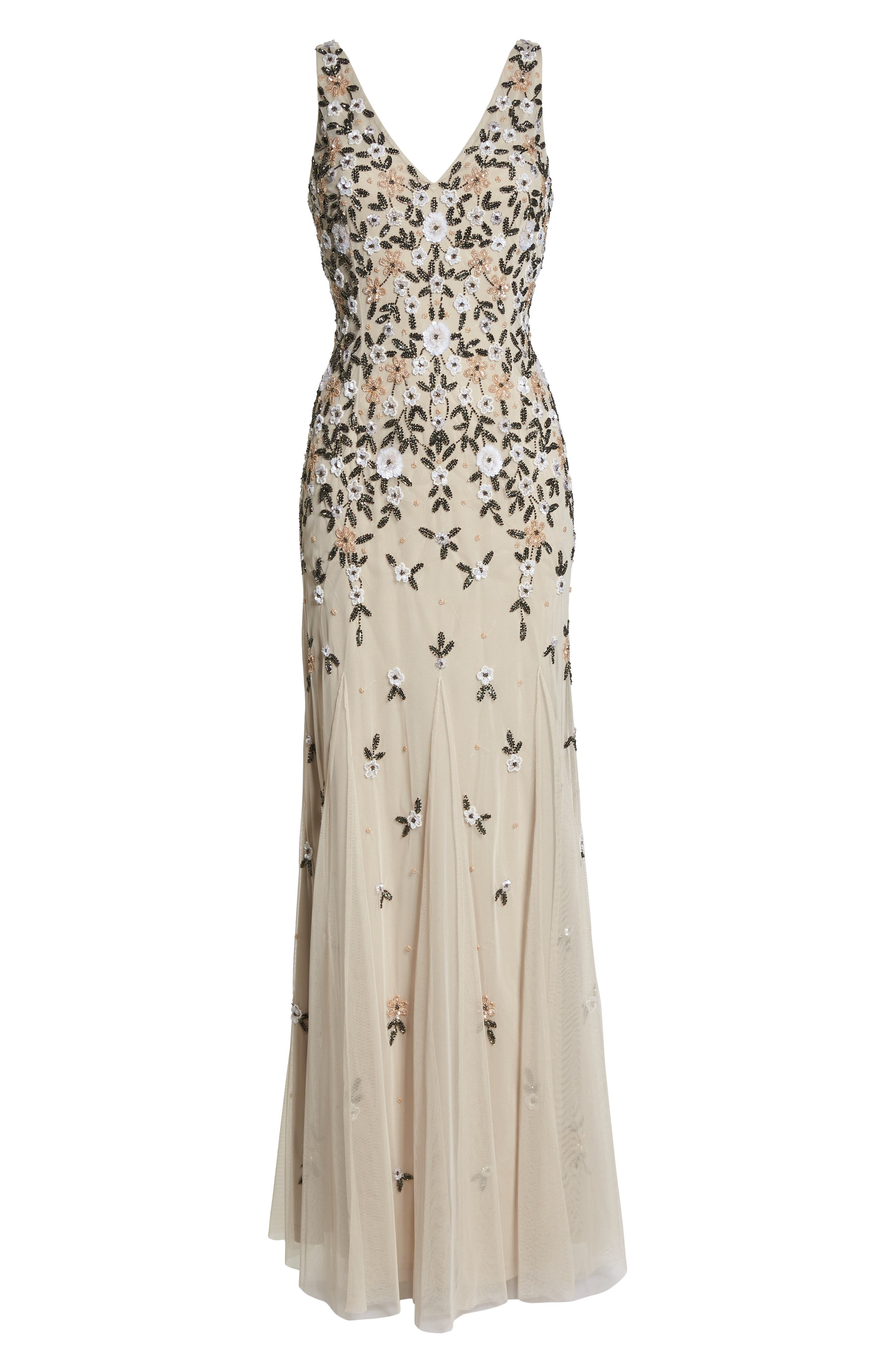 Beaded Floral Trumpet Gown,                             Alternate thumbnail 6, color,                             Biscotti
