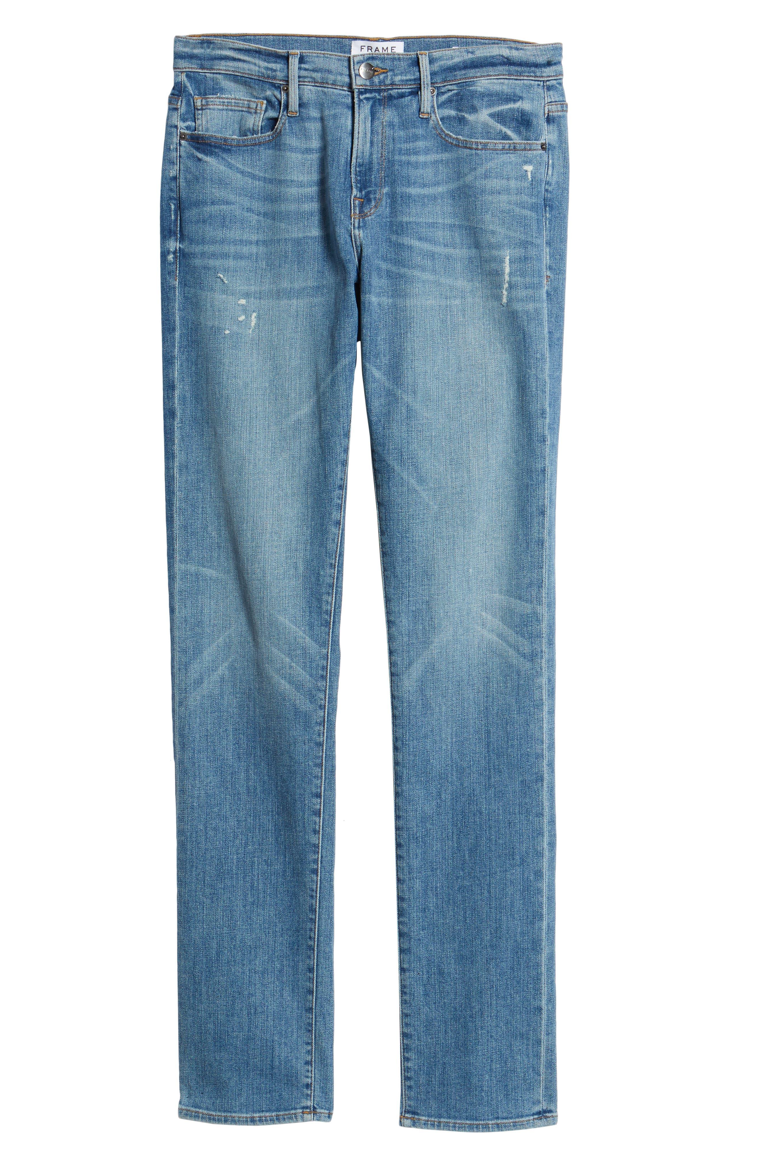 L'Homme Slim Straight Fit Jeans,                             Alternate thumbnail 6, color,                             Russel Cave