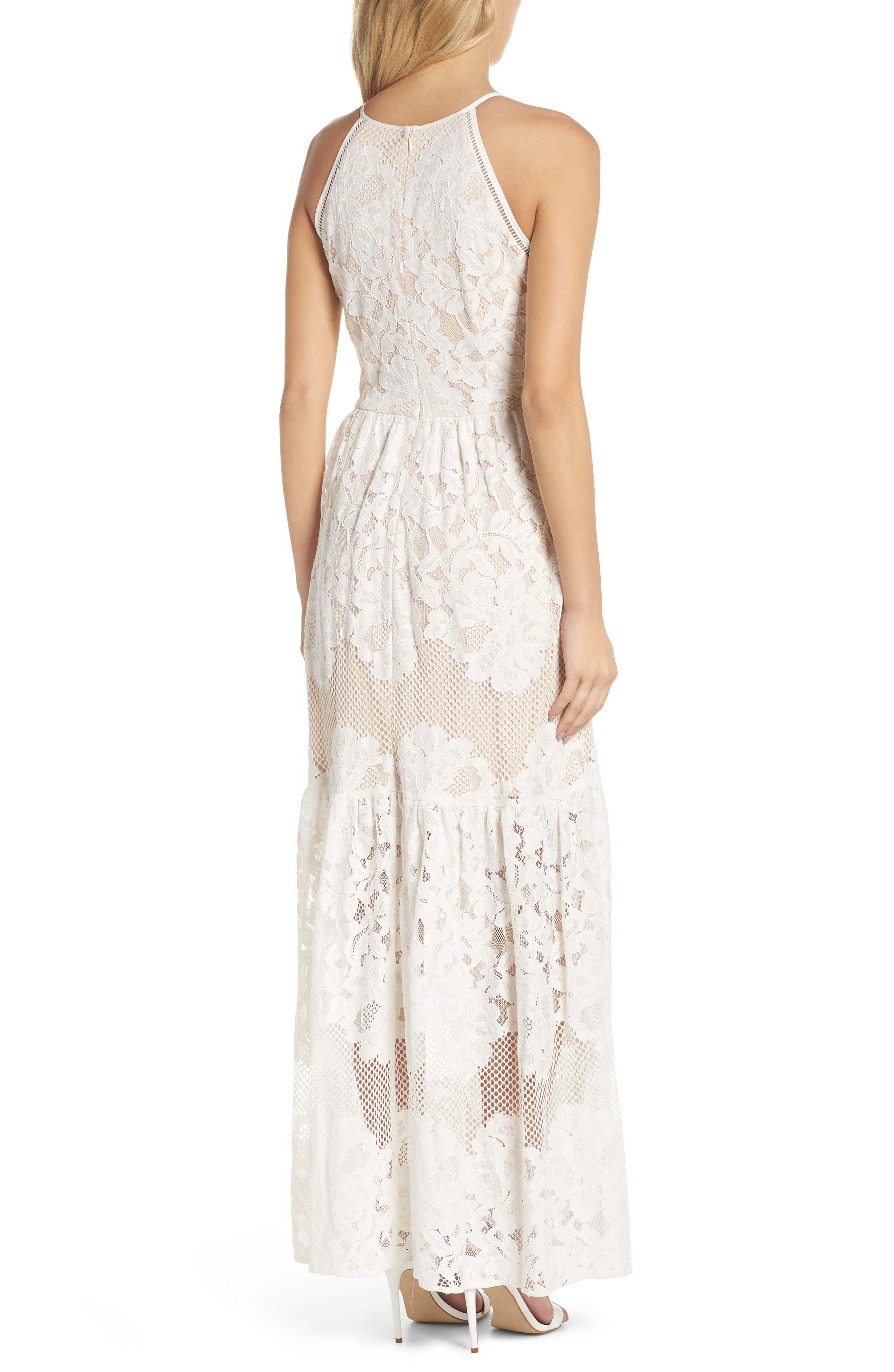Front Slit Lace Maxi Dress,                             Alternate thumbnail 2, color,                             Ivory