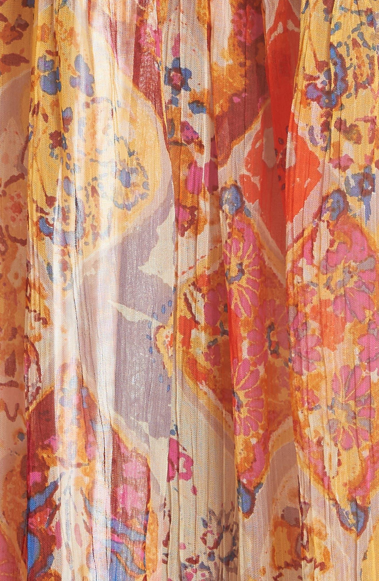 The Great Escape Print Maxi Skirt,                             Alternate thumbnail 5, color,                             Orange