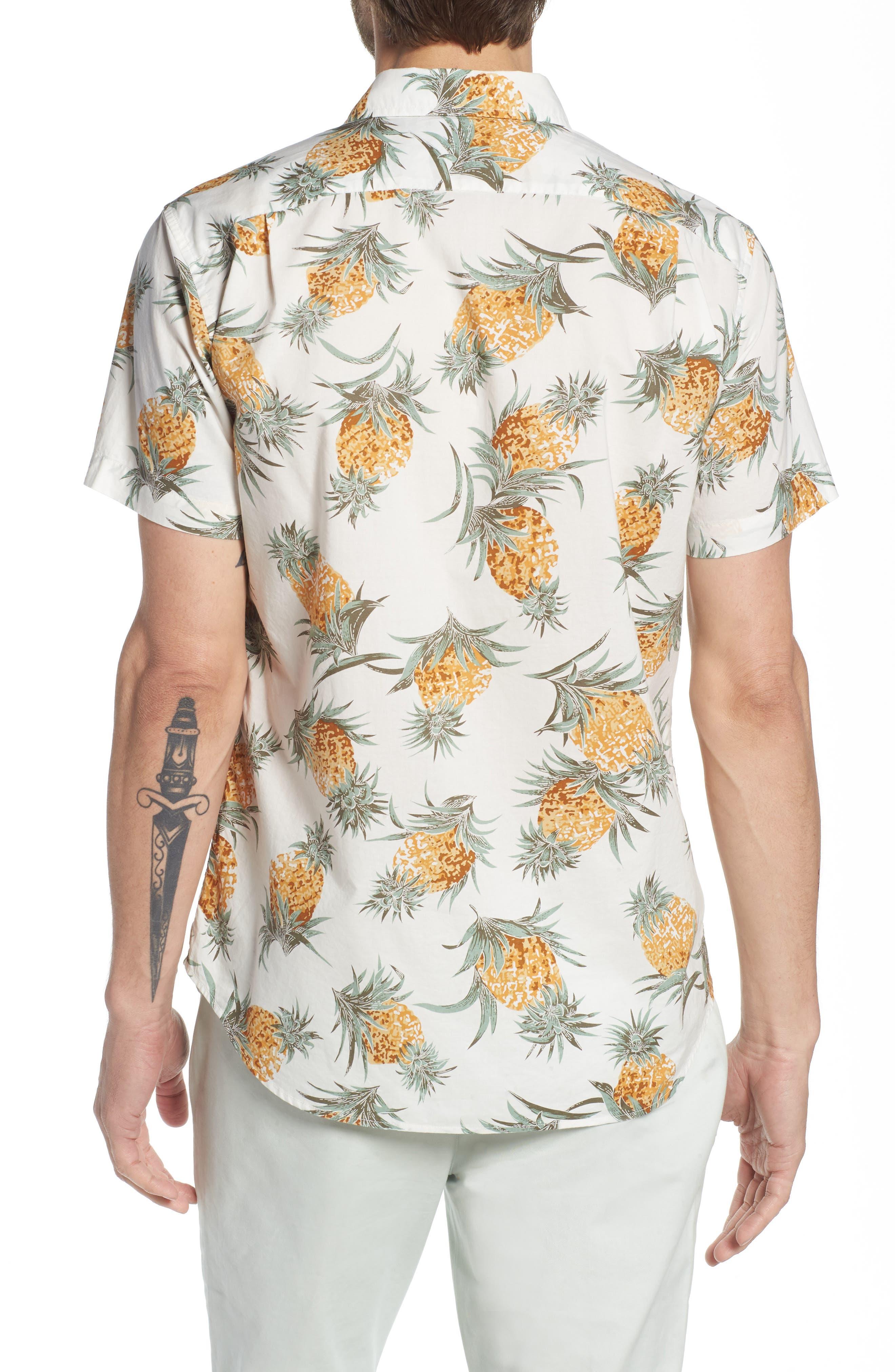 Slim Fit Print Sport Shirt,                             Alternate thumbnail 3, color,                             Pineapples - White