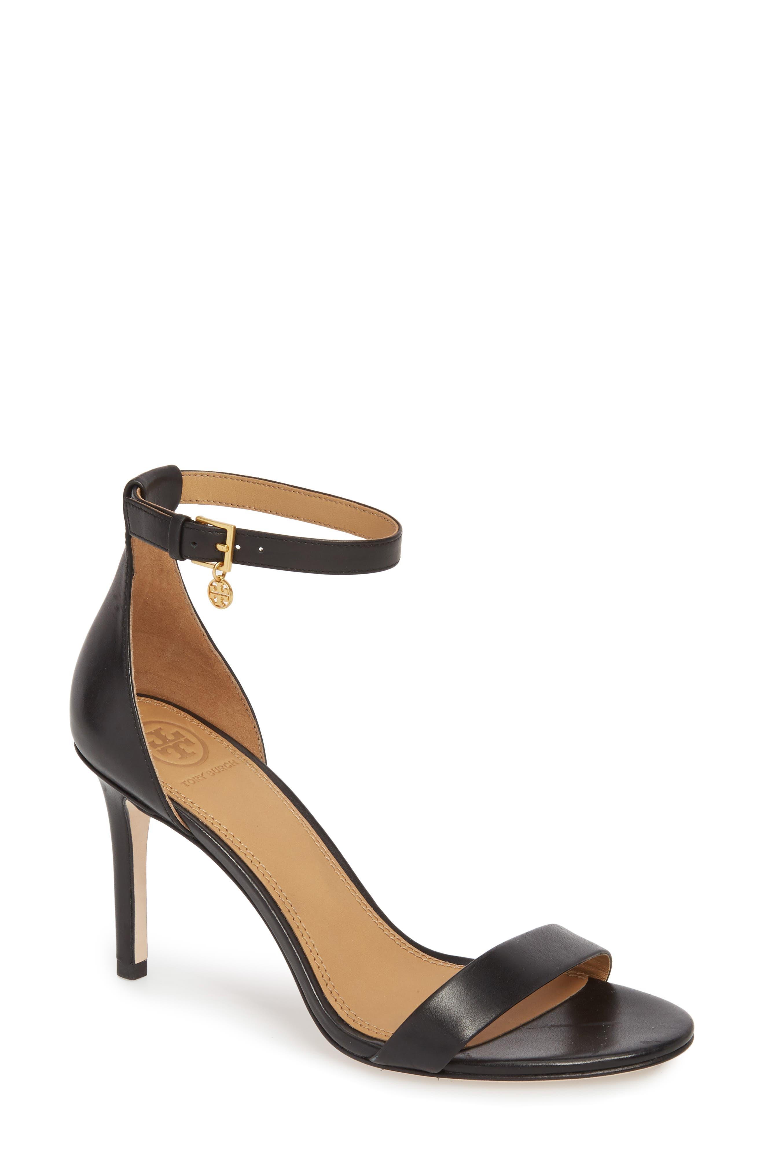 Ellie Ankle Strap Sandal,                             Main thumbnail 1, color,                             Black Leather