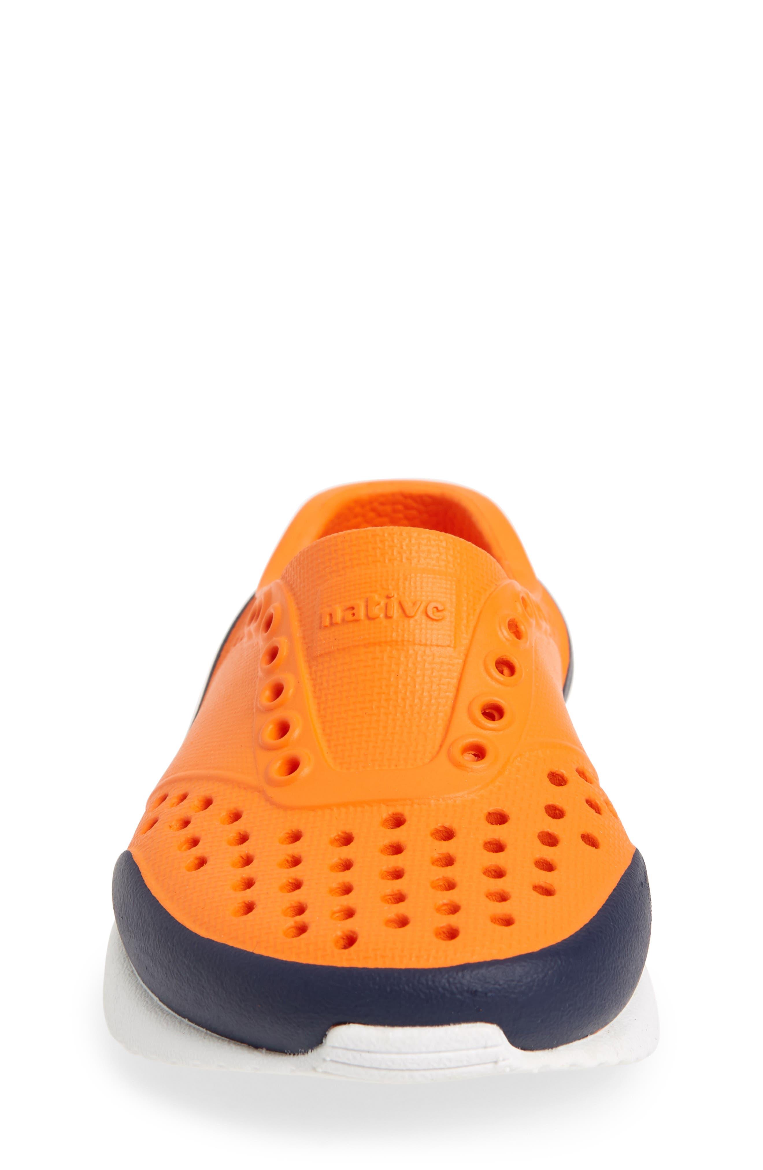 Lennox Block Slip-On Sneaker,                             Alternate thumbnail 4, color,                             Sunset Orange/ White/ Blue