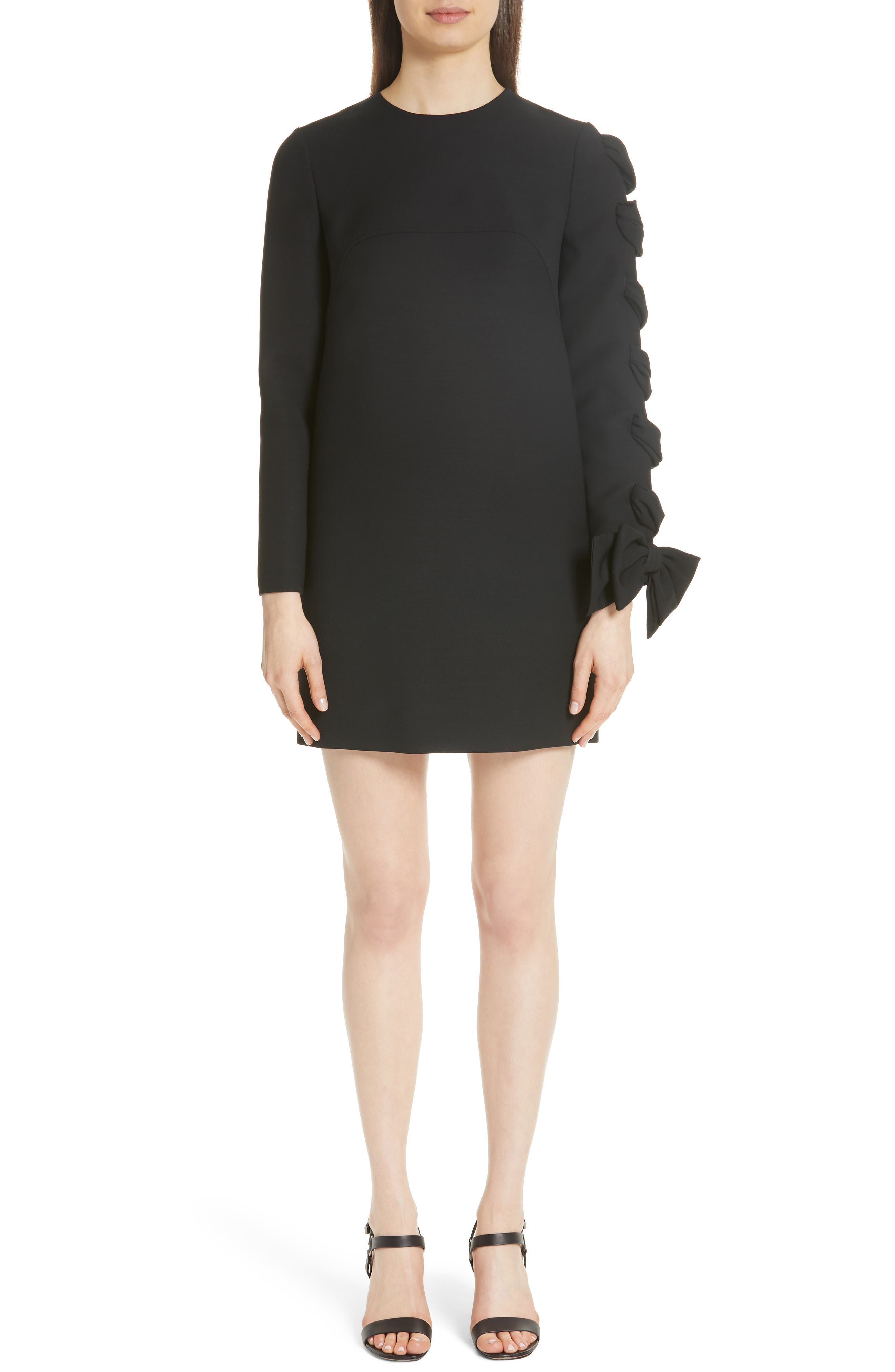 Very V Lace-Up Sleeve Dress,                             Main thumbnail 1, color,                             Black