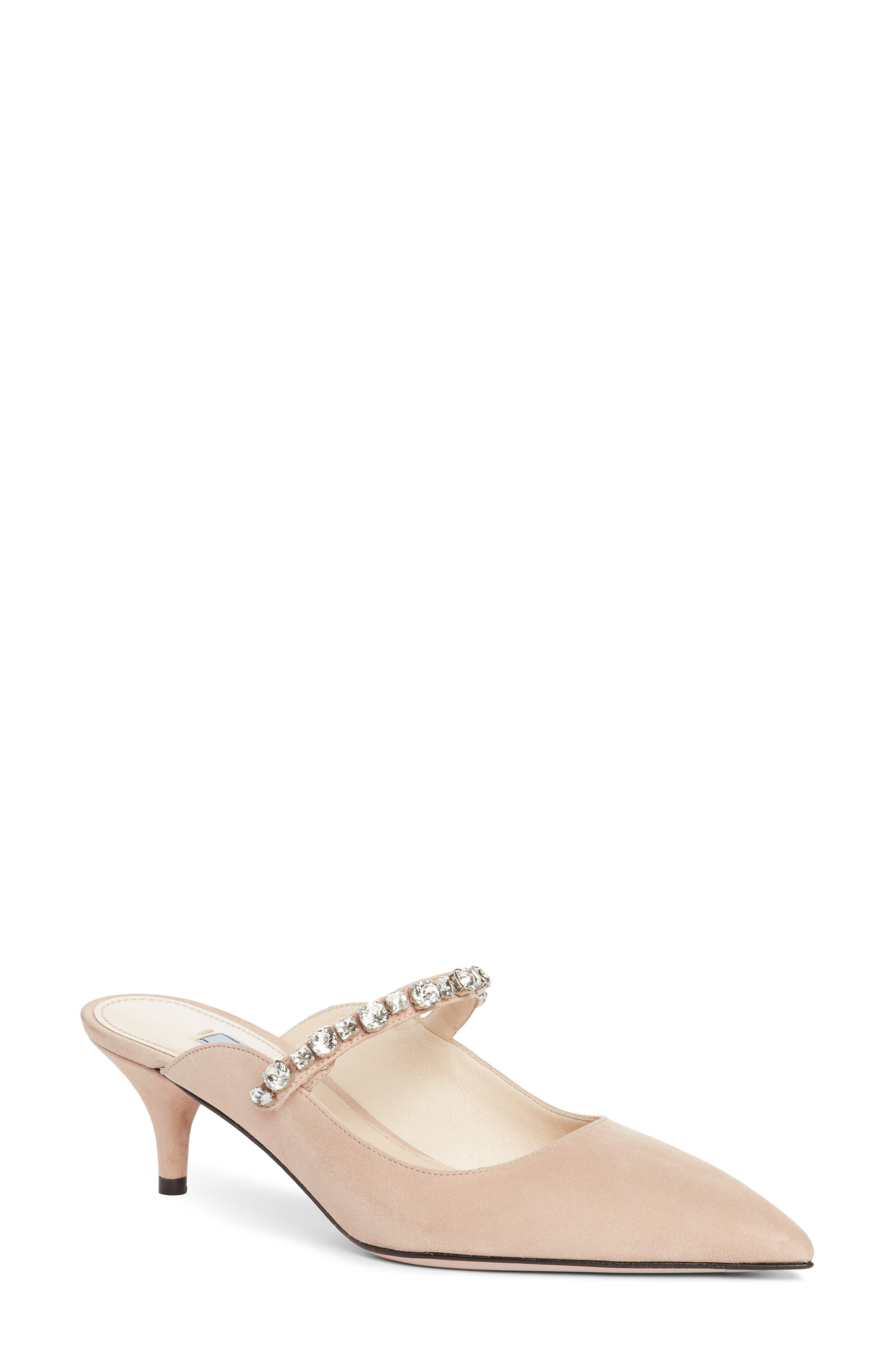 Prada Crystal Embellished Pointy Toe Mule (Women)