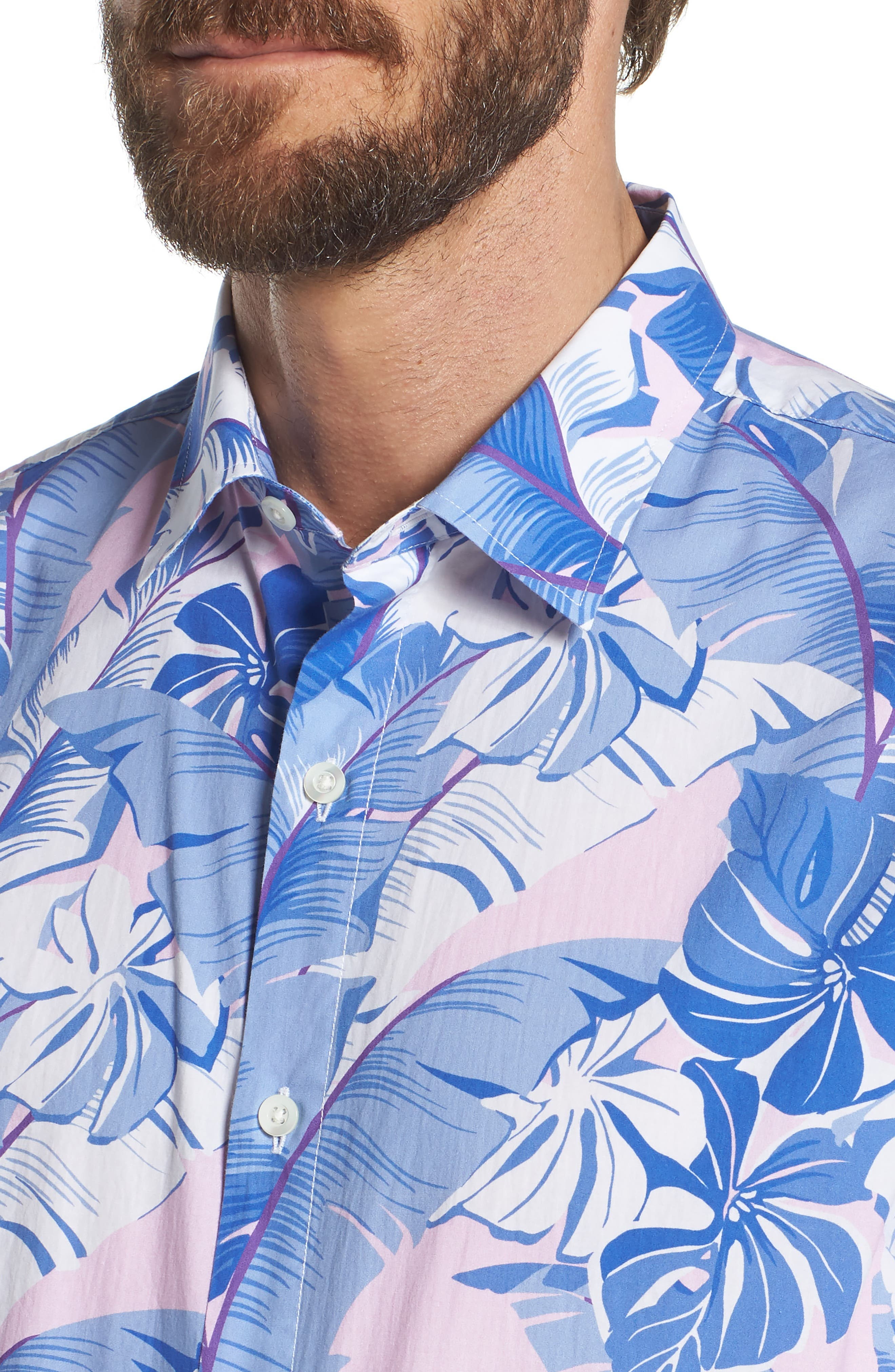 Slim Fit Tropical Print Premium Sport Shirt,                             Alternate thumbnail 2, color,                             Tropical - Berry Smoothie