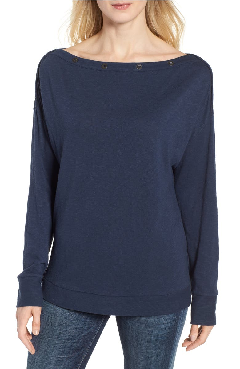 Button Neck Tee,                         Main,                         color, Navy Indigo