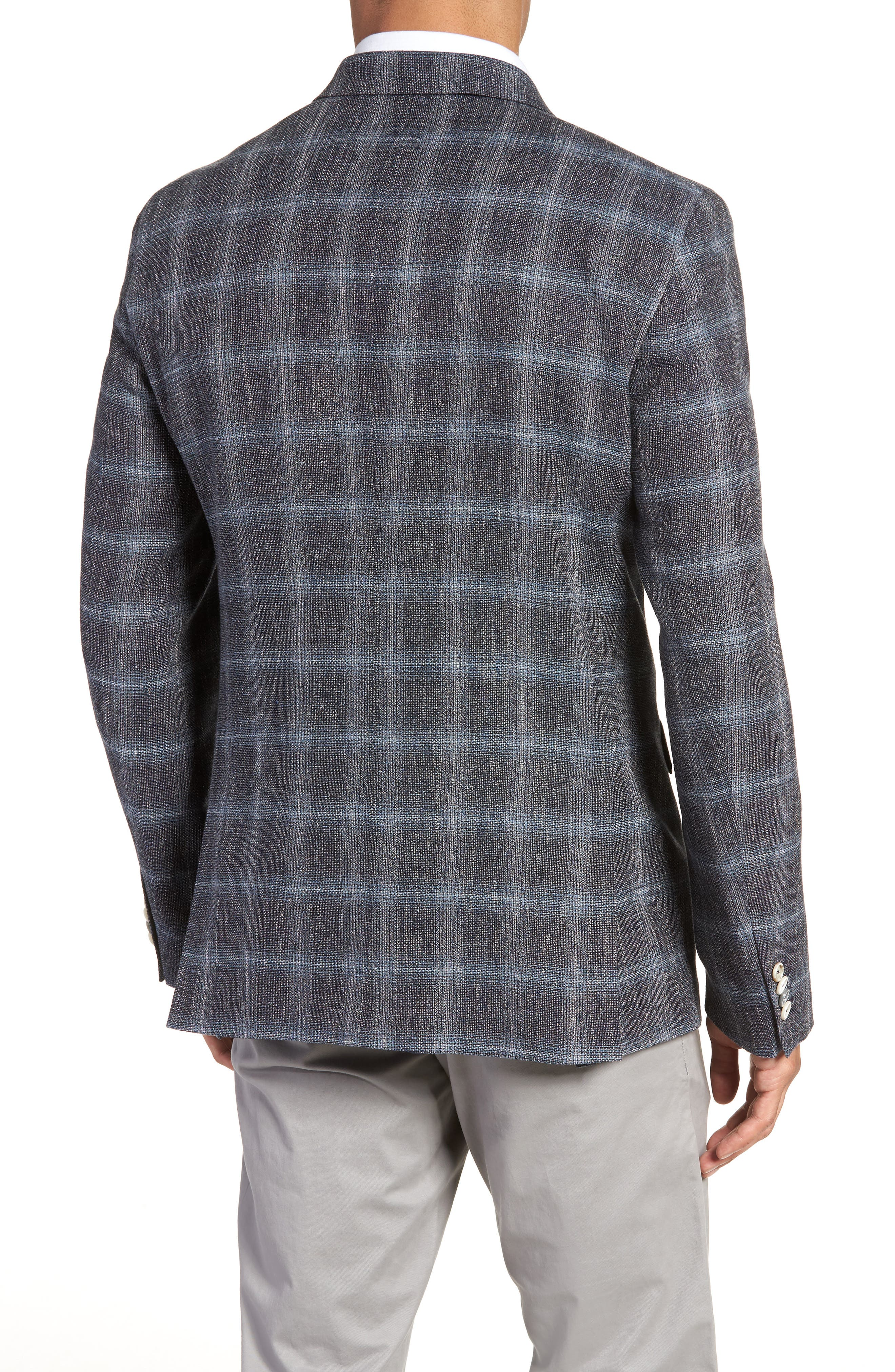 Trim Fit Plaid Sport Coat,                             Alternate thumbnail 2, color,                             Grey