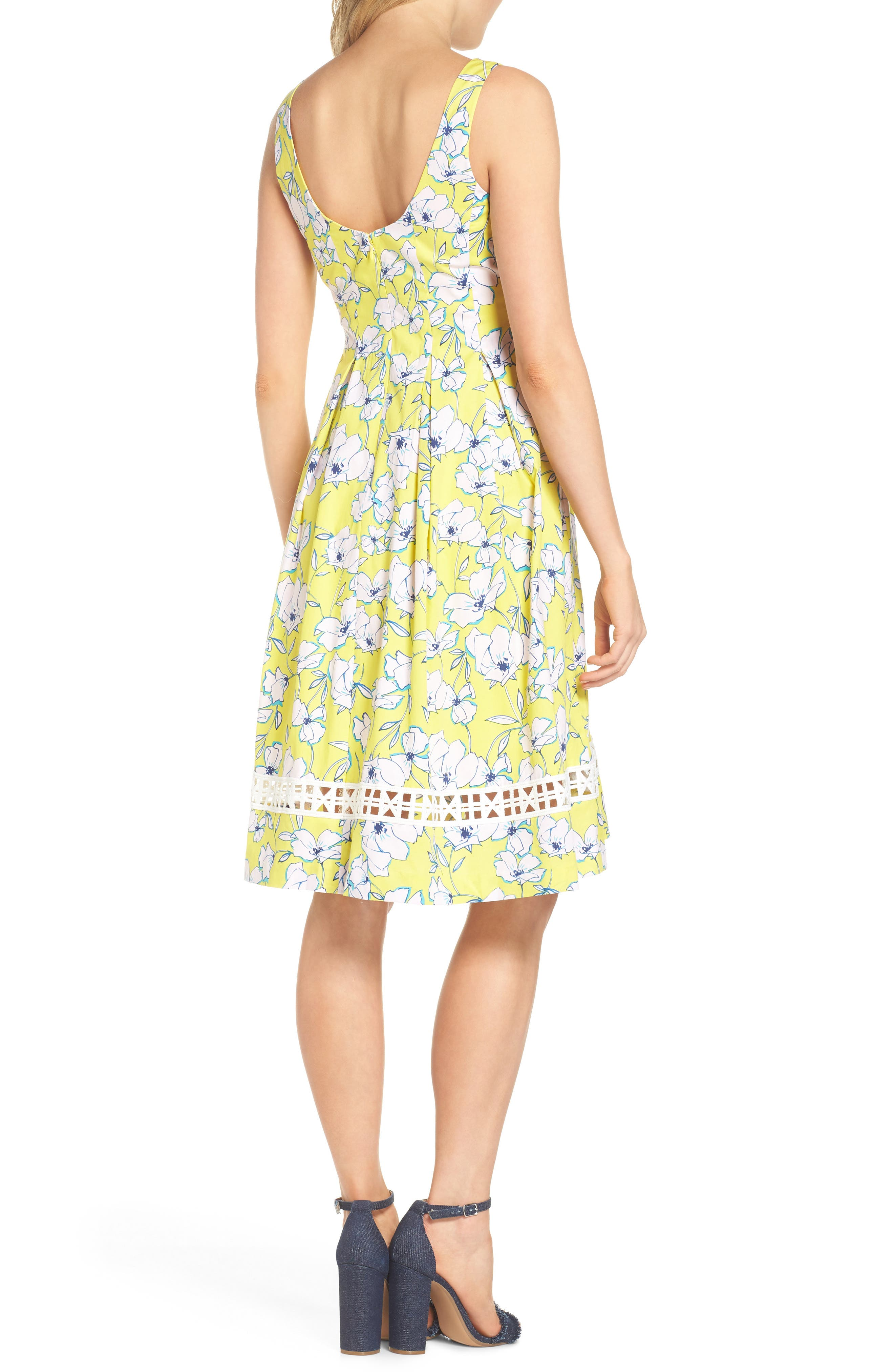 Pleated Fit & Flare Dress,                             Alternate thumbnail 2, color,                             Yellow