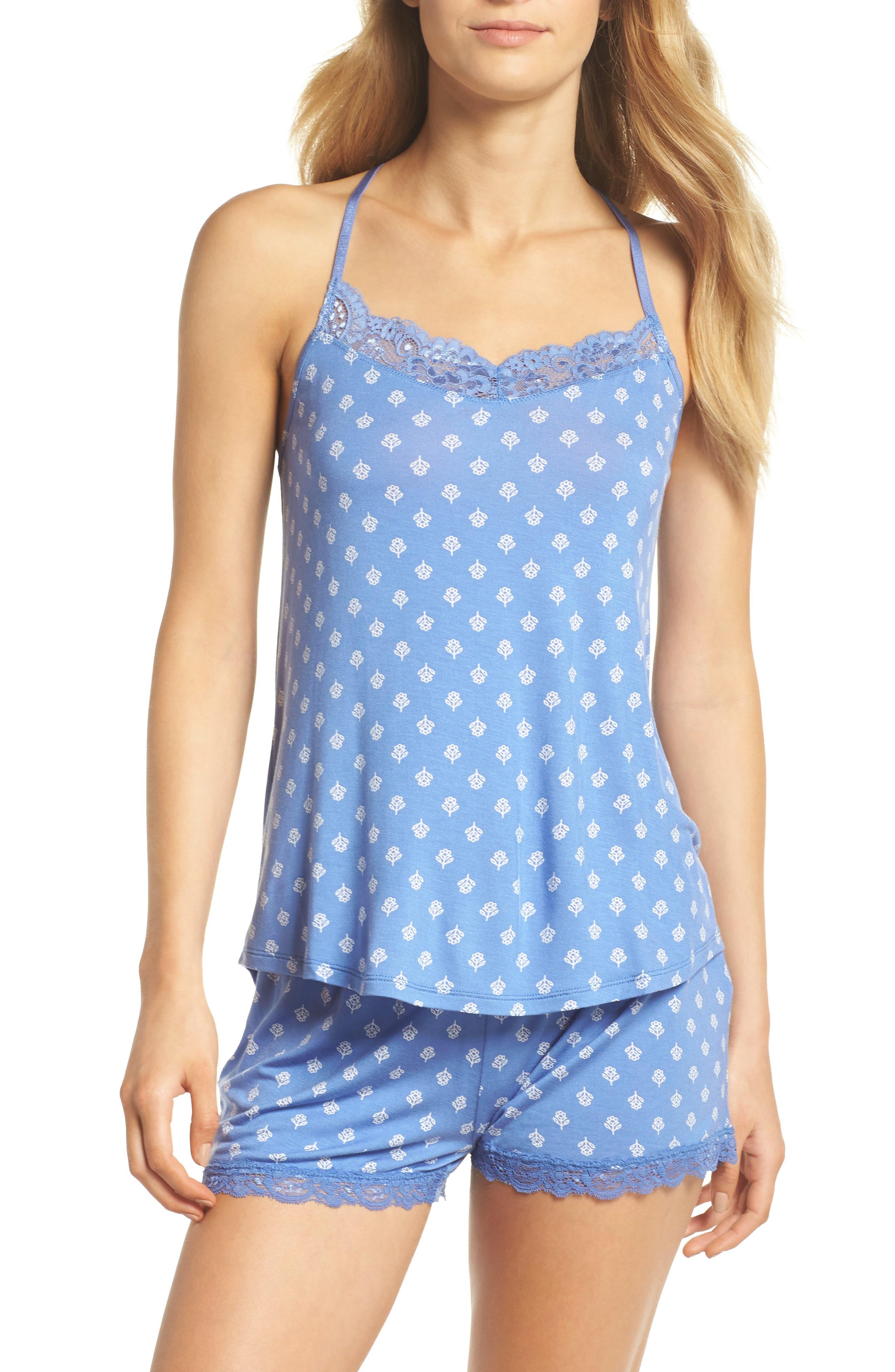 Pajama Shorts,                             Alternate thumbnail 4, color,                             Blue