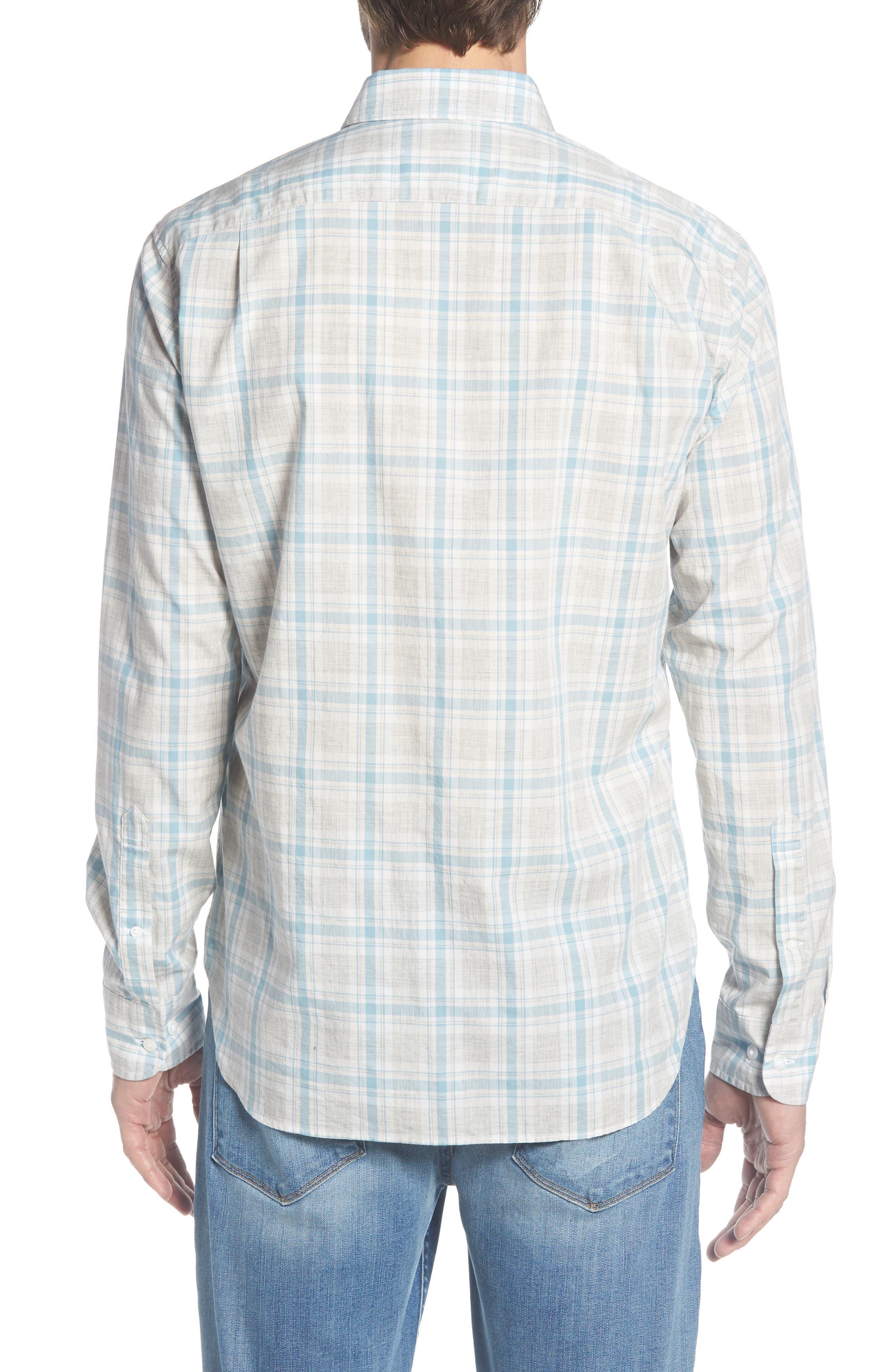 Summerweight Slim Fit Plaid Sport Shirt,                             Alternate thumbnail 3, color,                             Hobbs Plaid - Grey Heather