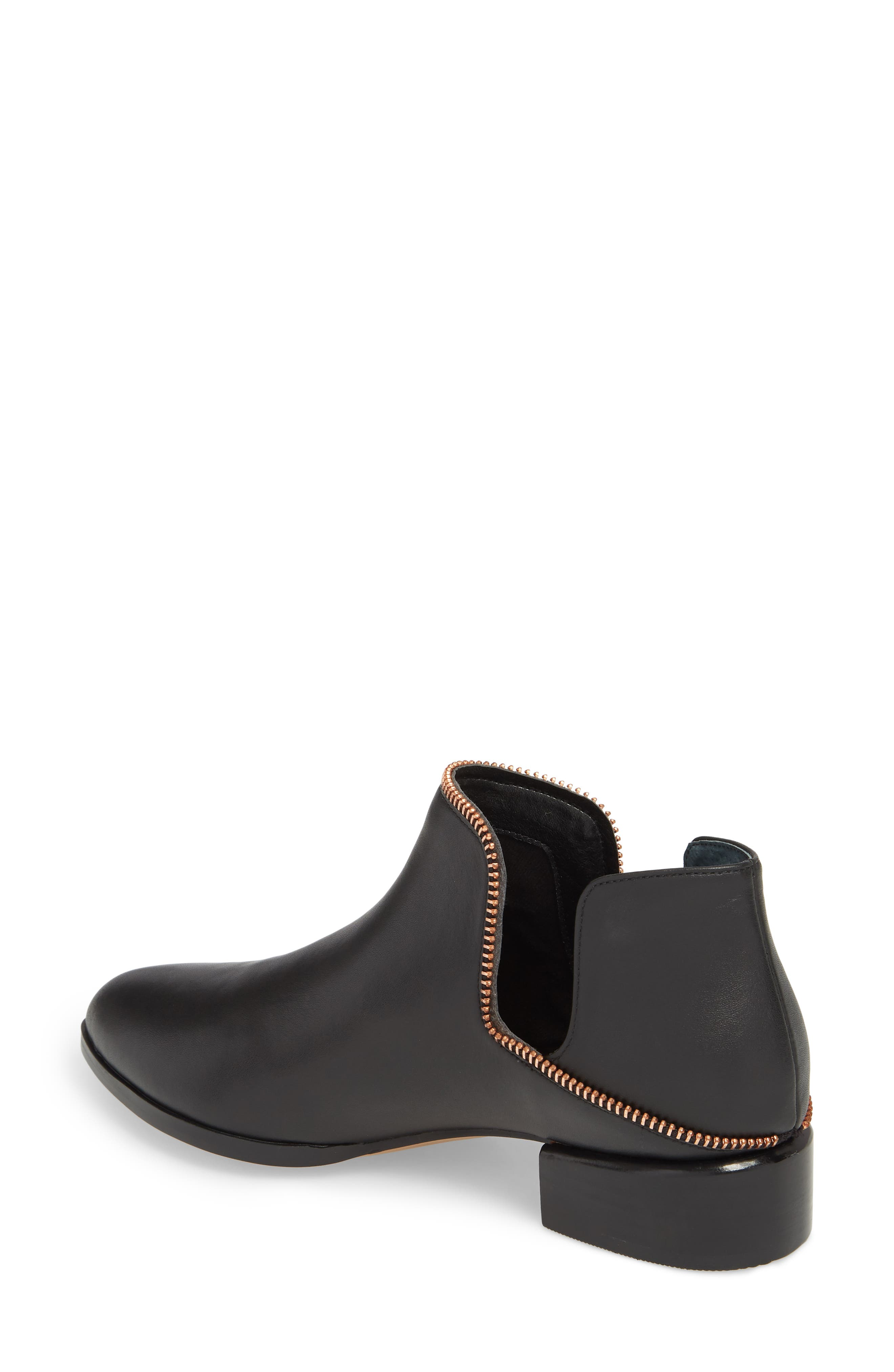 Piper Bootie,                             Alternate thumbnail 2, color,                             Black Leather/ Rosegold