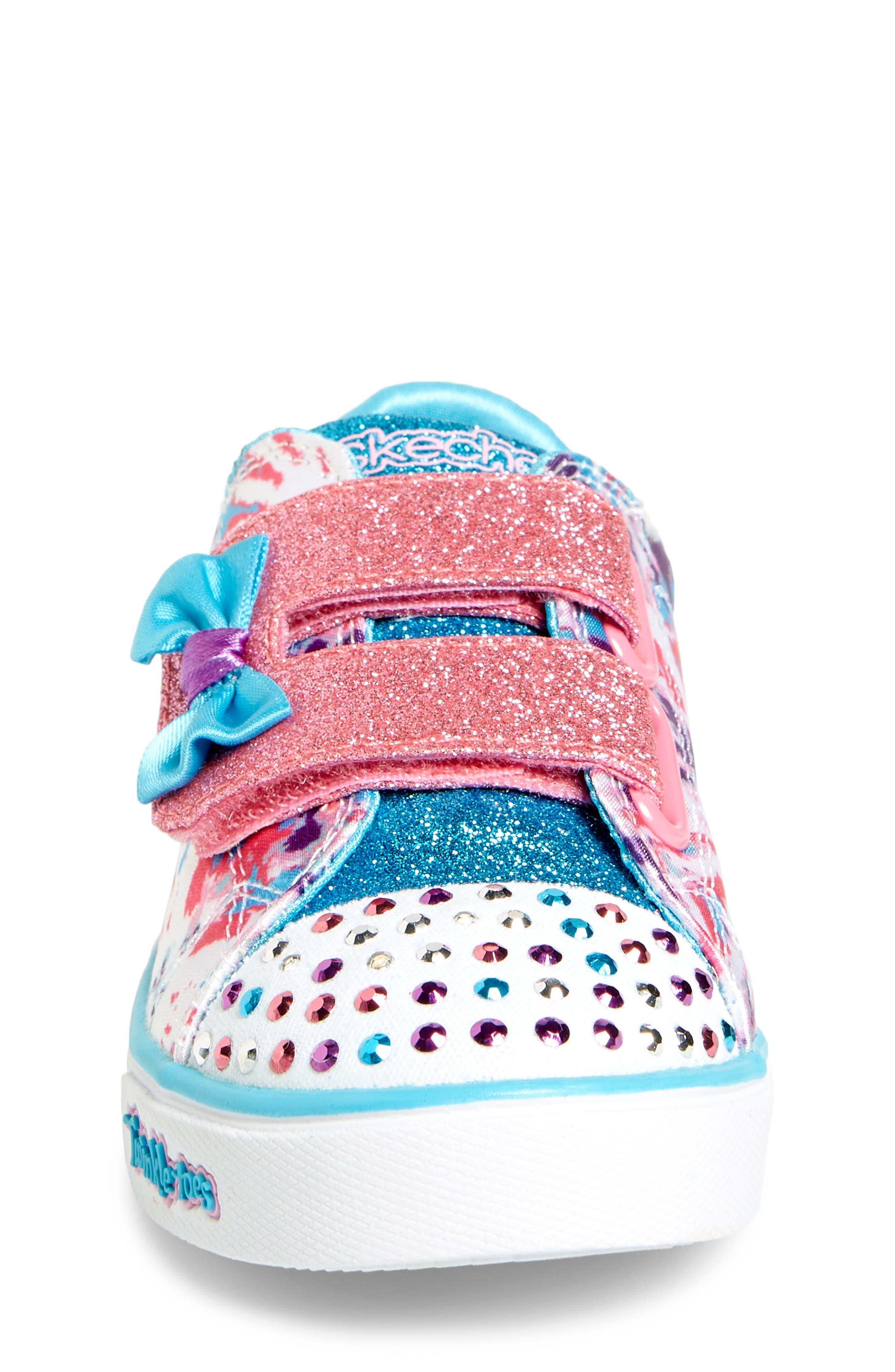 Sparkle Glitz Lil Dazzle Sneaker,                             Alternate thumbnail 4, color,                             White/ Multi