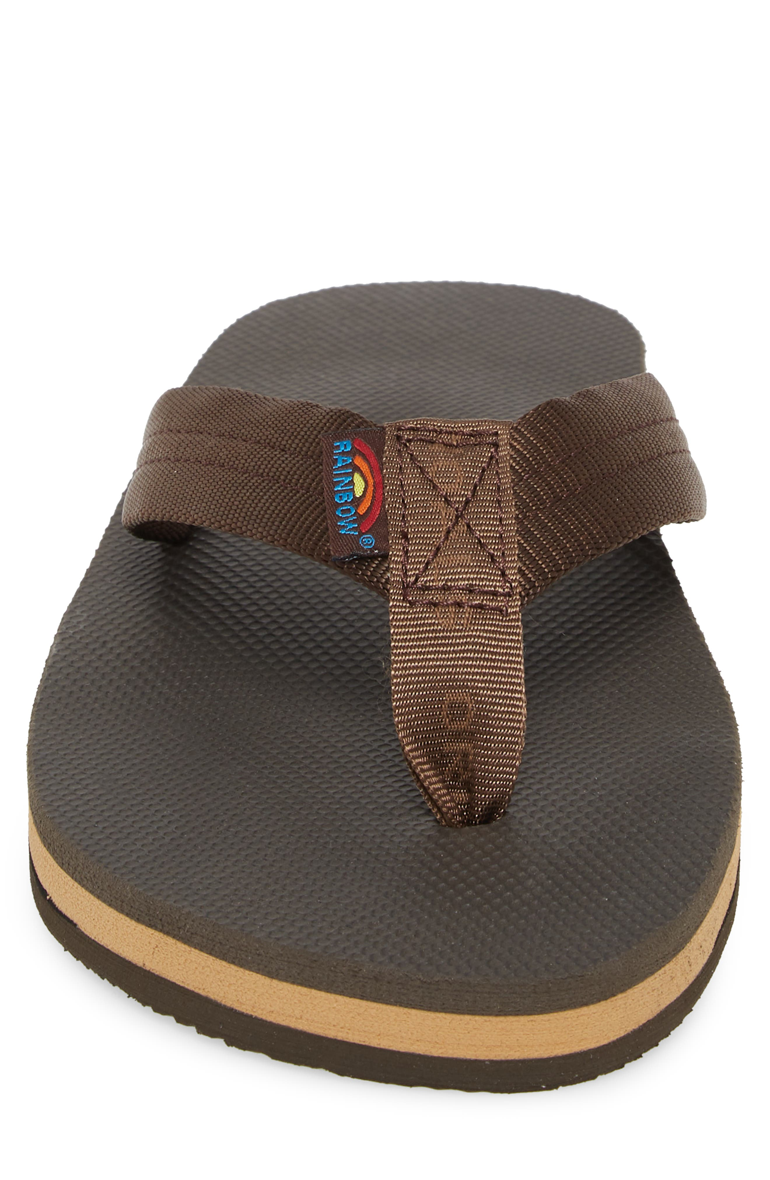 Double Layer Classic Flip Flop,                             Alternate thumbnail 4, color,                             Brown