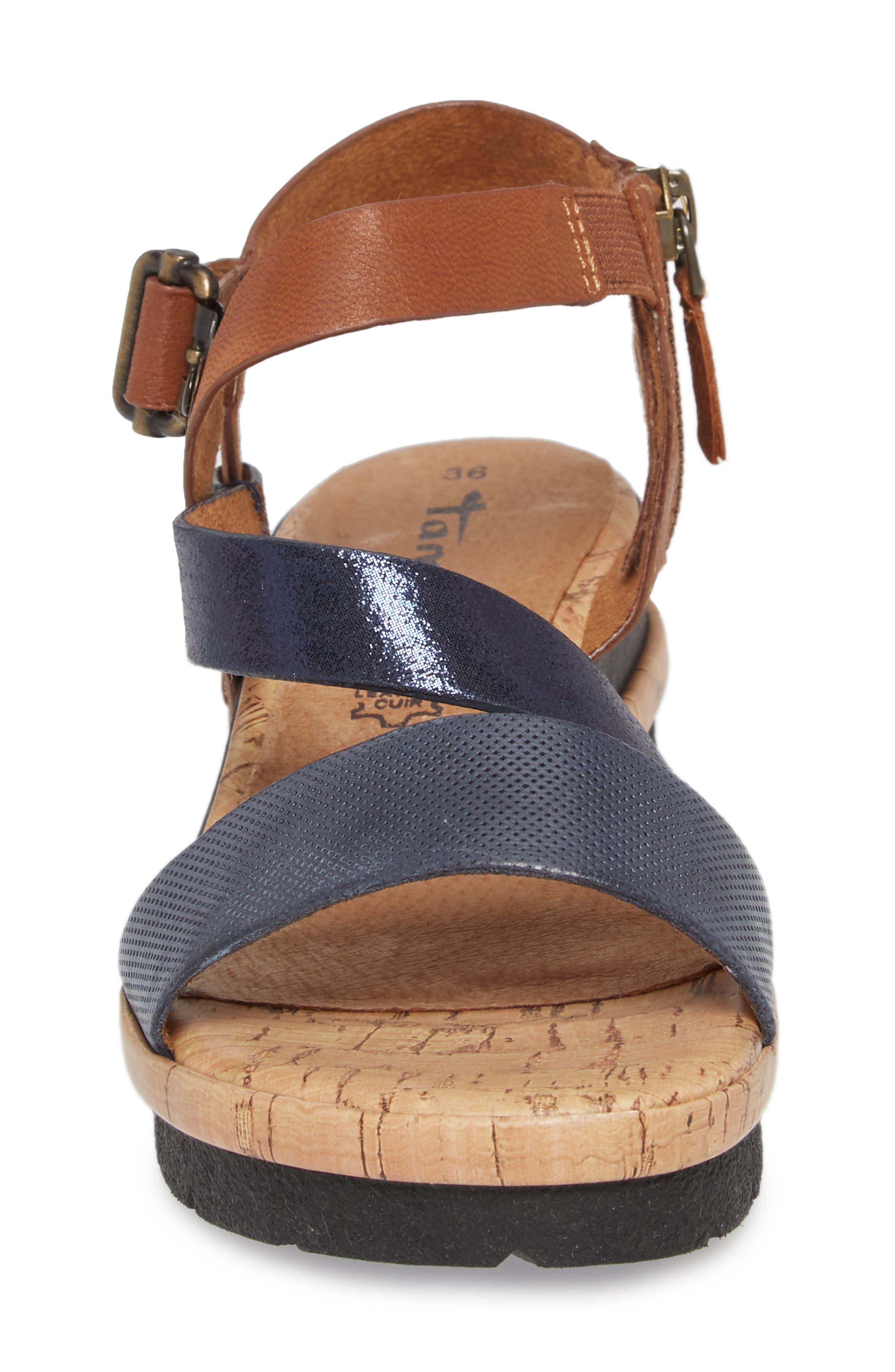 Eda Diagonal Strap Wedge Sandal,                             Alternate thumbnail 4, color,                             Navy/ Cognac Leather