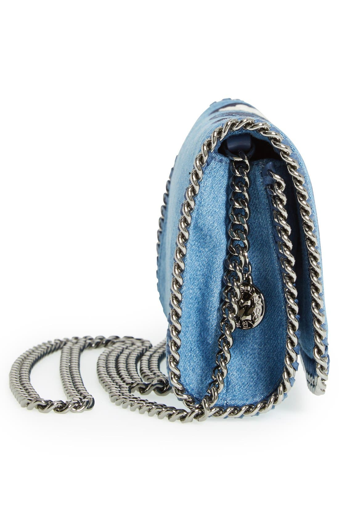 'Falabella - Adorned' Denim Crossbody Bag,                             Alternate thumbnail 5, color,                             Blue