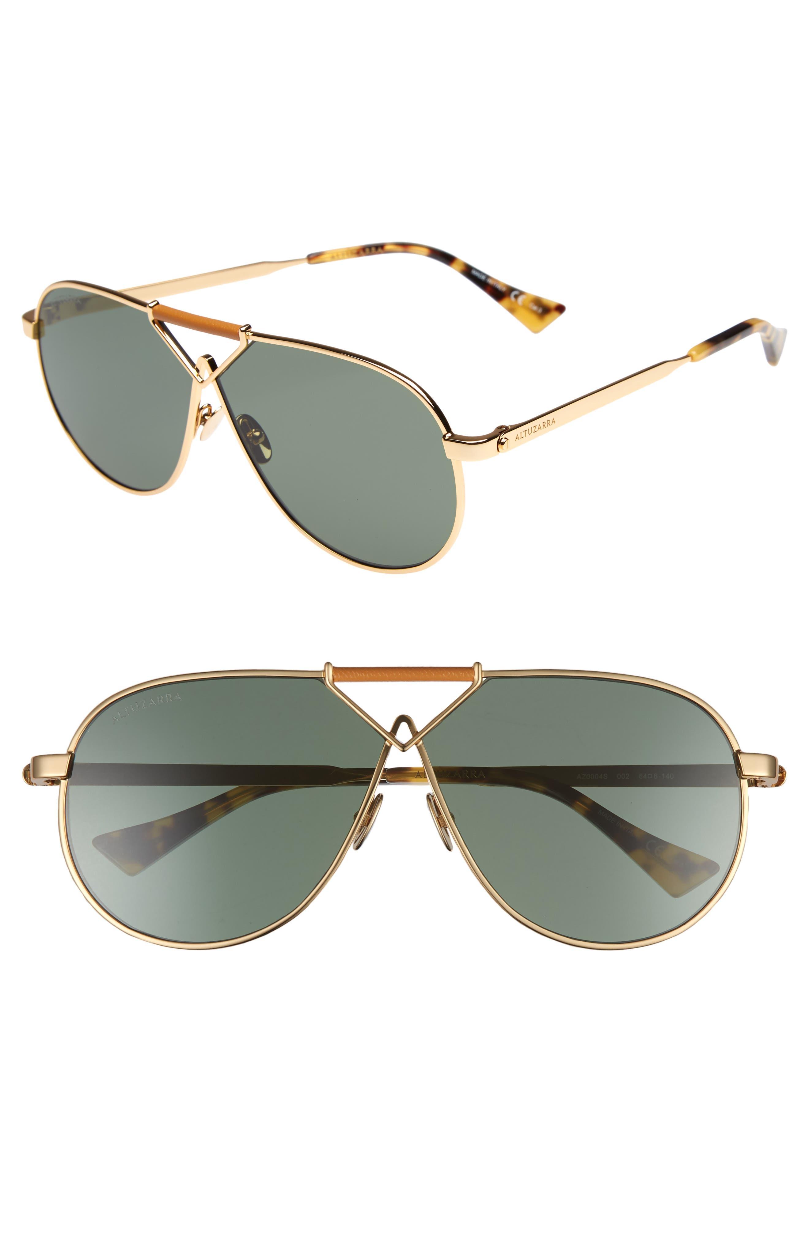 64mm Aviator Sunglasses,                             Main thumbnail 1, color,                             Gold