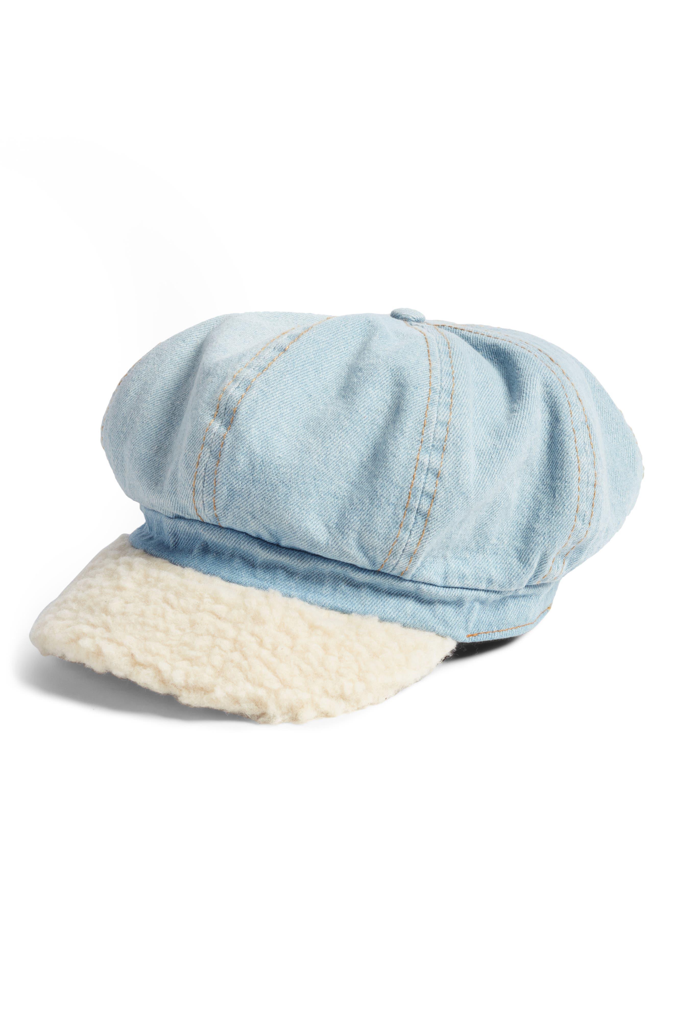 Faux Shearling & Denim Baker Boy Hat,                         Main,                         color, Blue