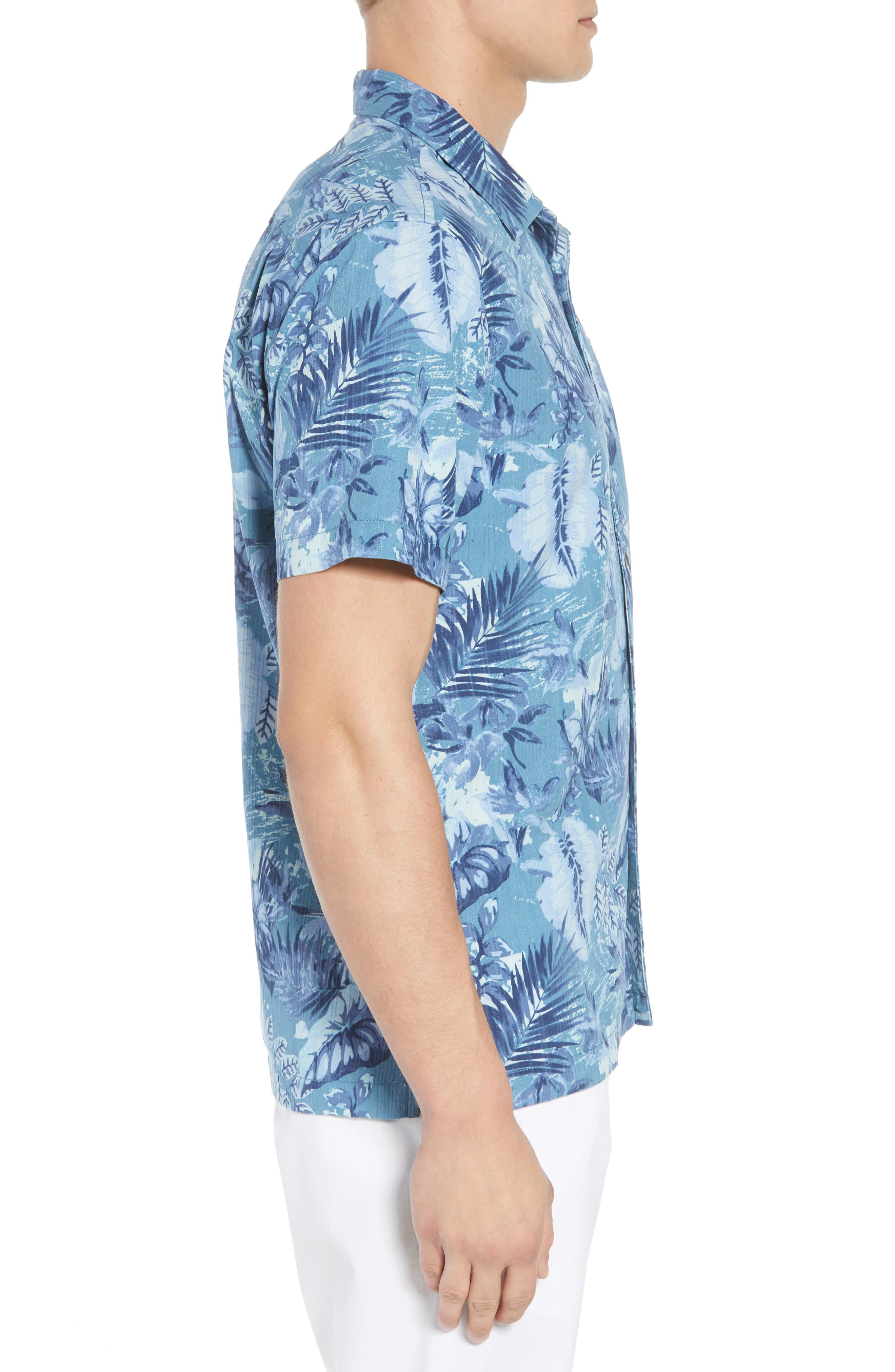 Selva Shores Silk Blend Camp Shirt,                             Alternate thumbnail 4, color,                             Ocean Deep