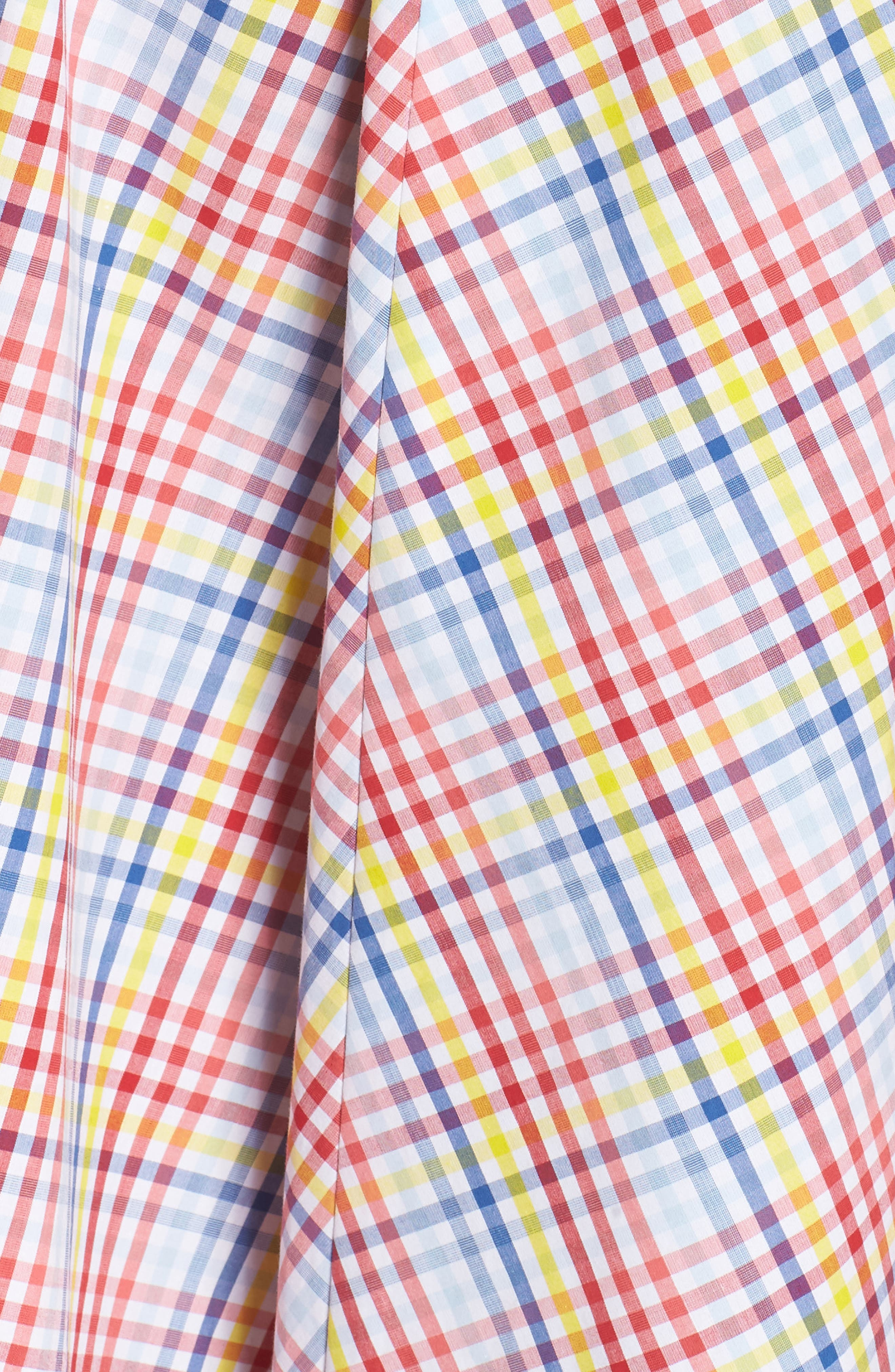 Check Halter Midi Fit & Flare Dress,                             Alternate thumbnail 7, color,                             Red