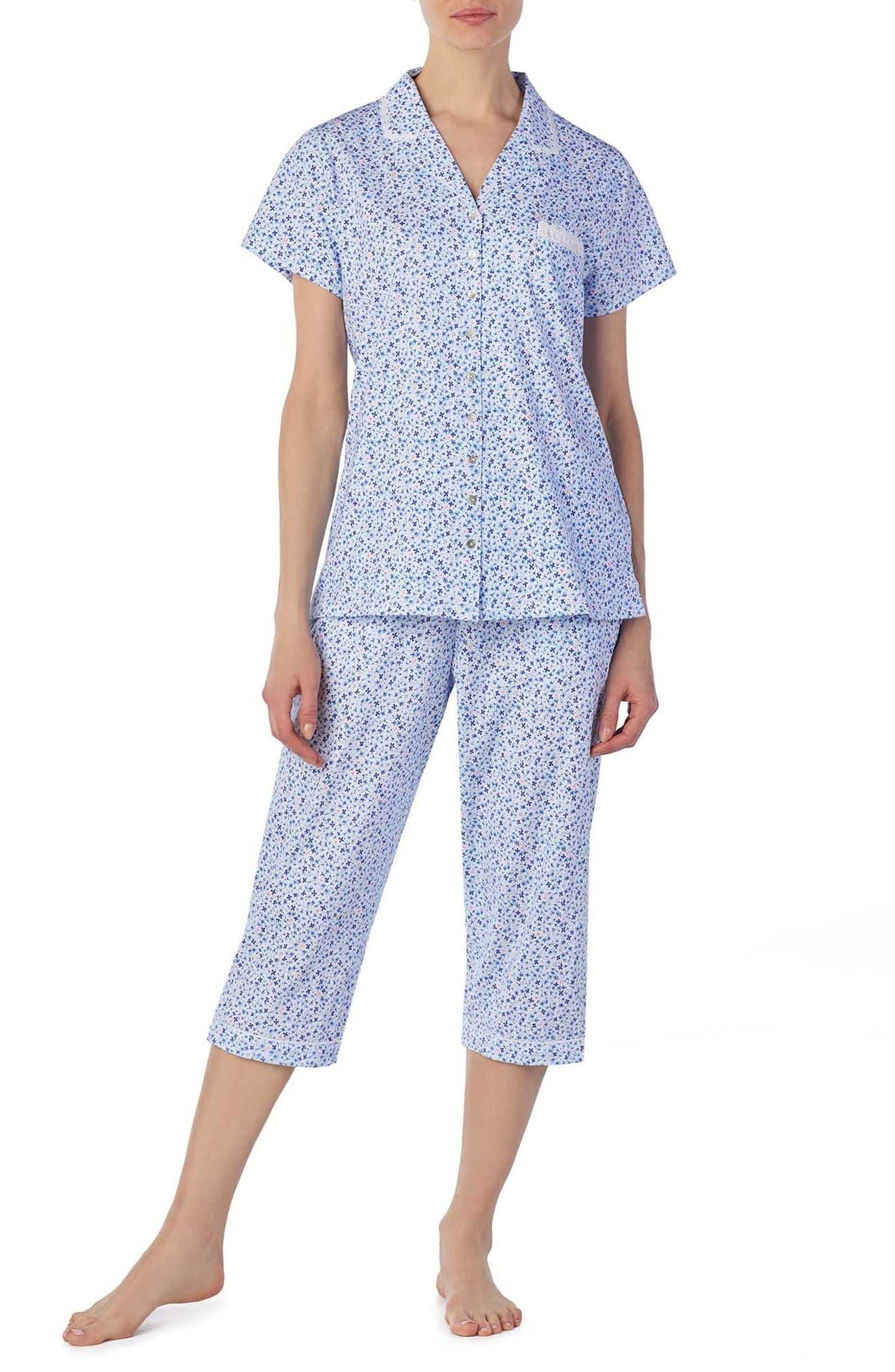 Jersey Capri Pajamas,                             Main thumbnail 1, color,                             Pink/ Blue