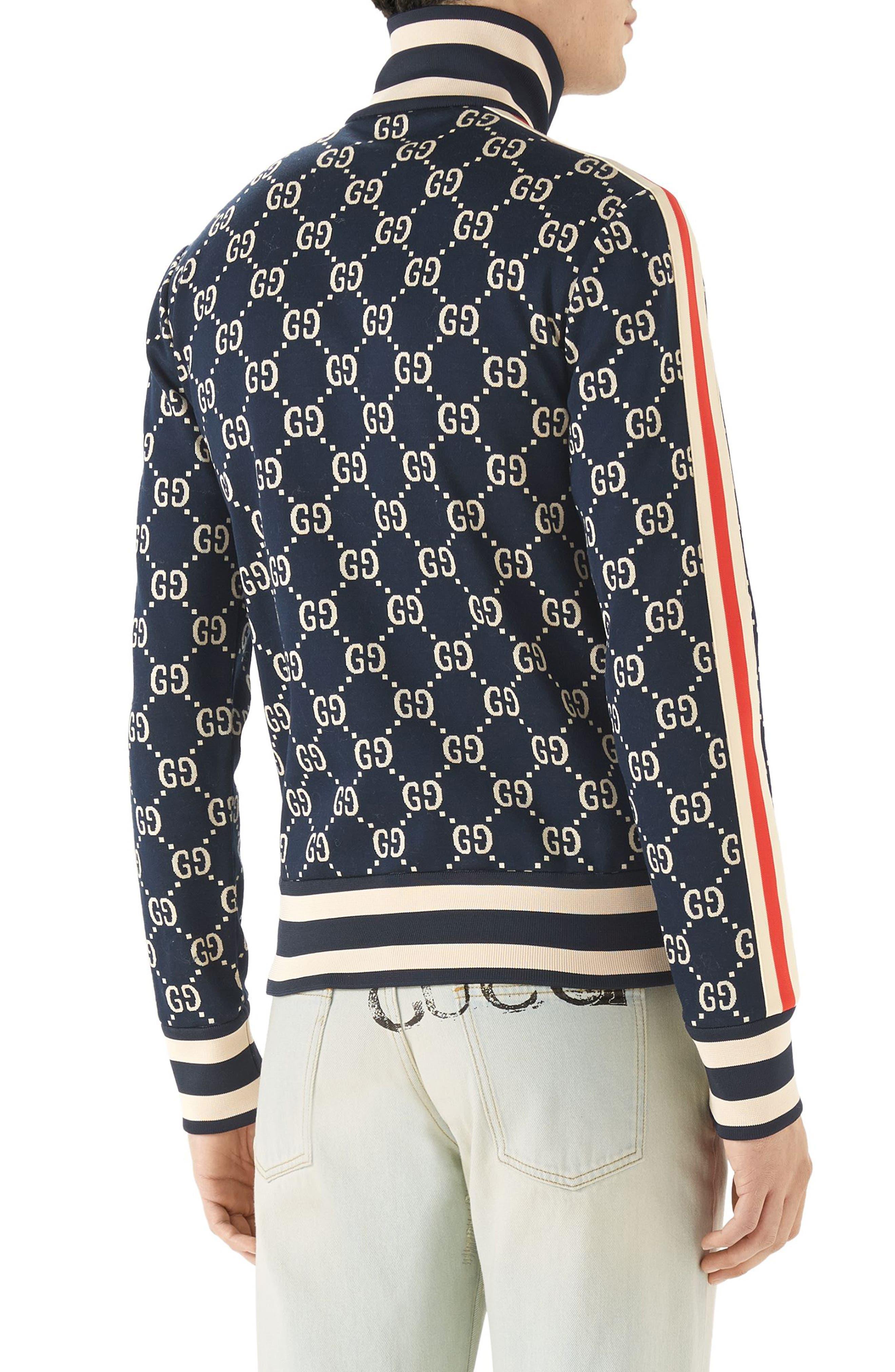 GG Jersey Track Jacket,                             Alternate thumbnail 2, color,                             Blue