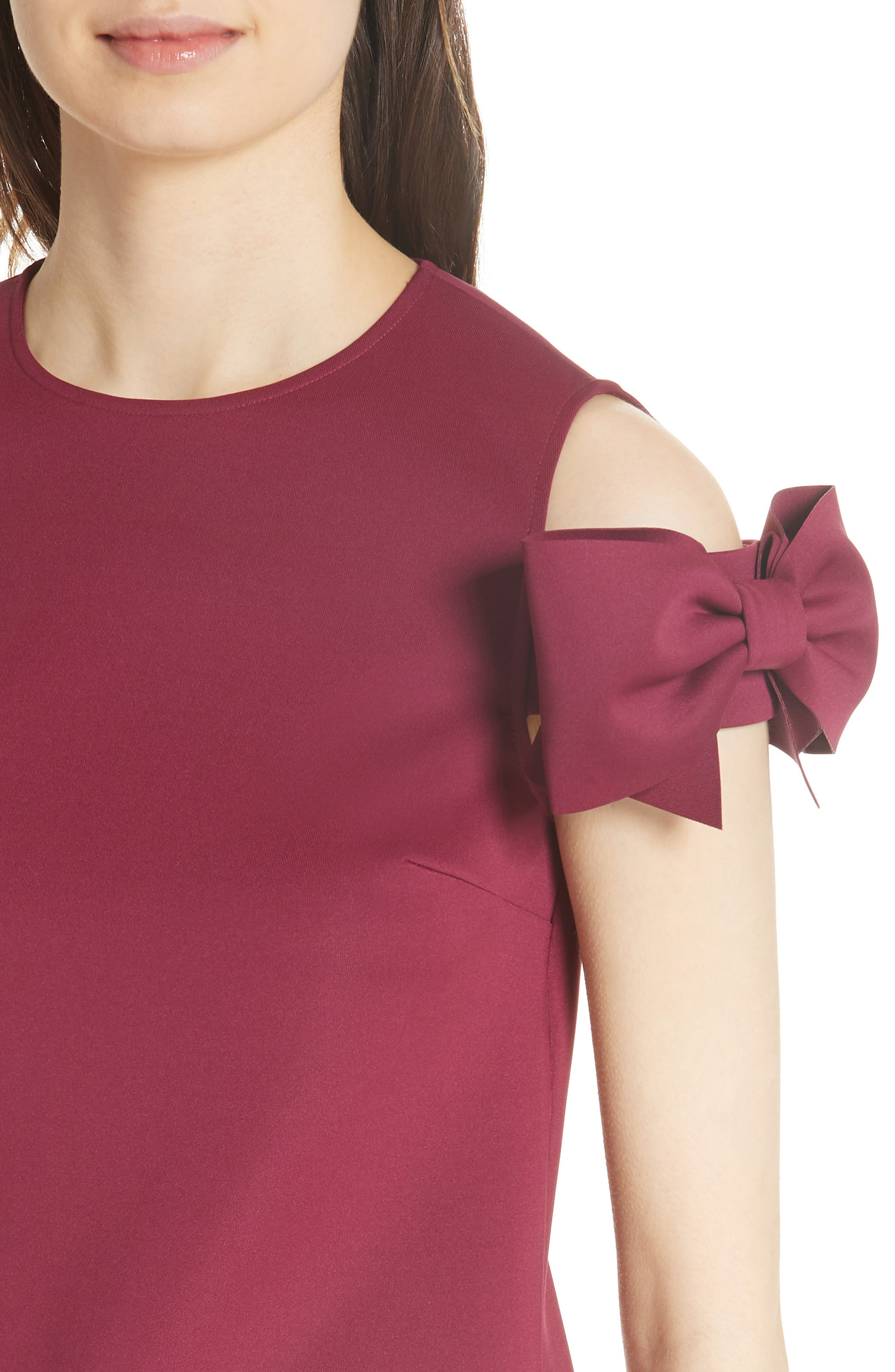 Mendoll Bow Sleeve Cold Shoulder Top,                             Alternate thumbnail 4, color,                             Maroon