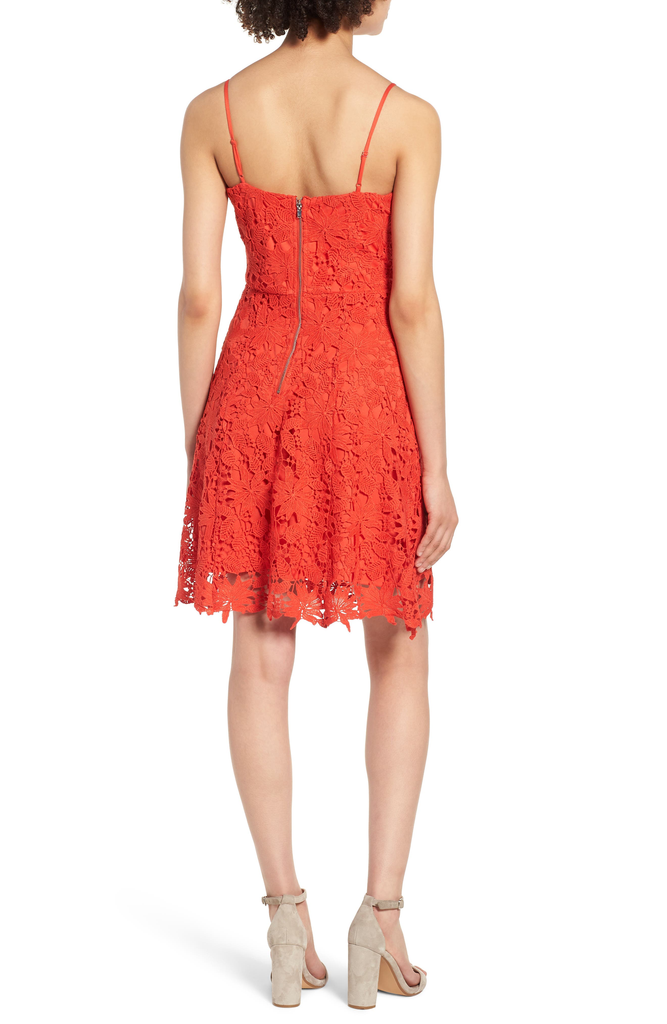 Lace Fit & Flare Dress,                             Alternate thumbnail 2, color,                             Candy Red