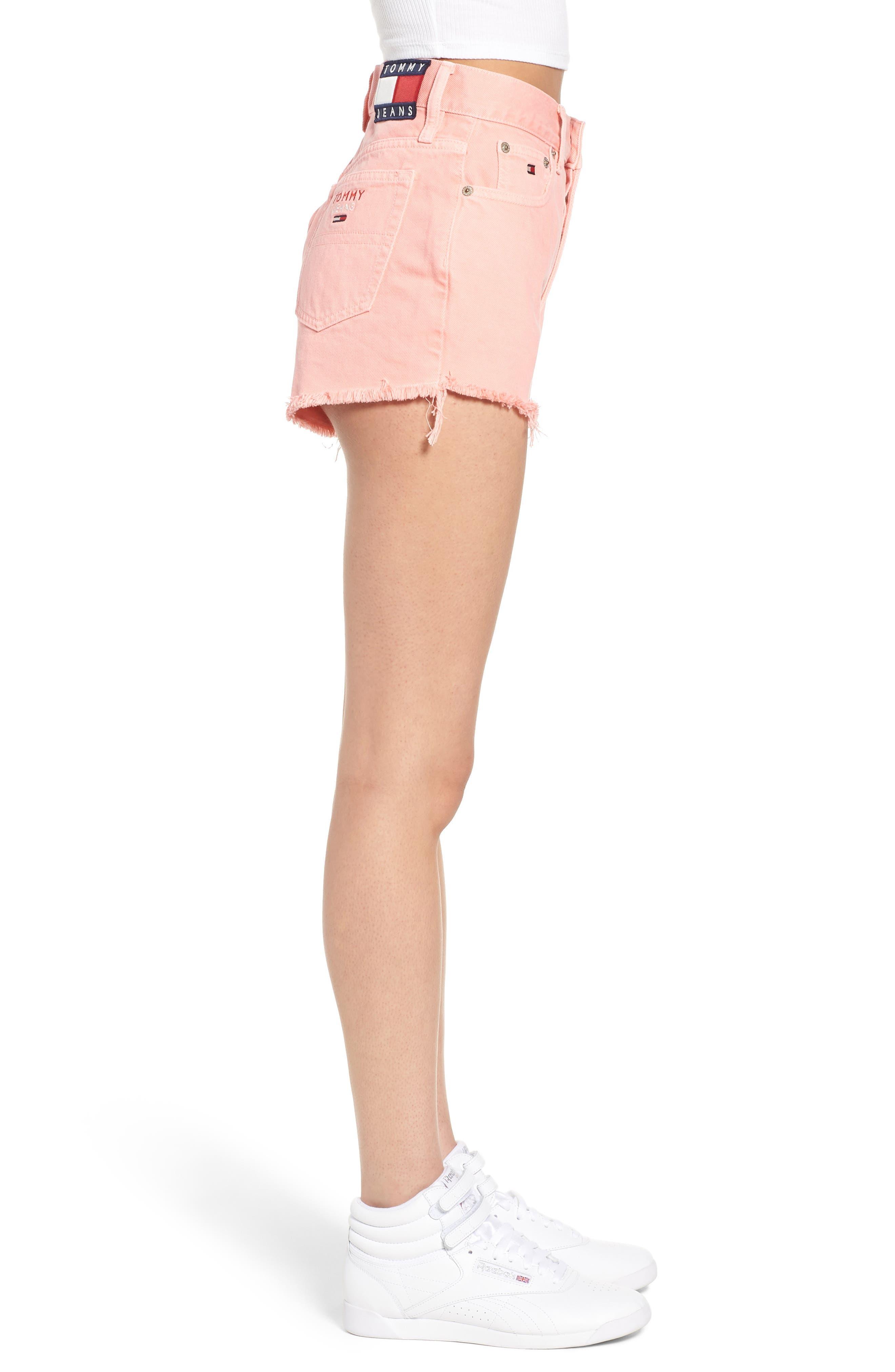 Fray Hem Denim Shorts,                             Alternate thumbnail 3, color,                             Quartz Pink