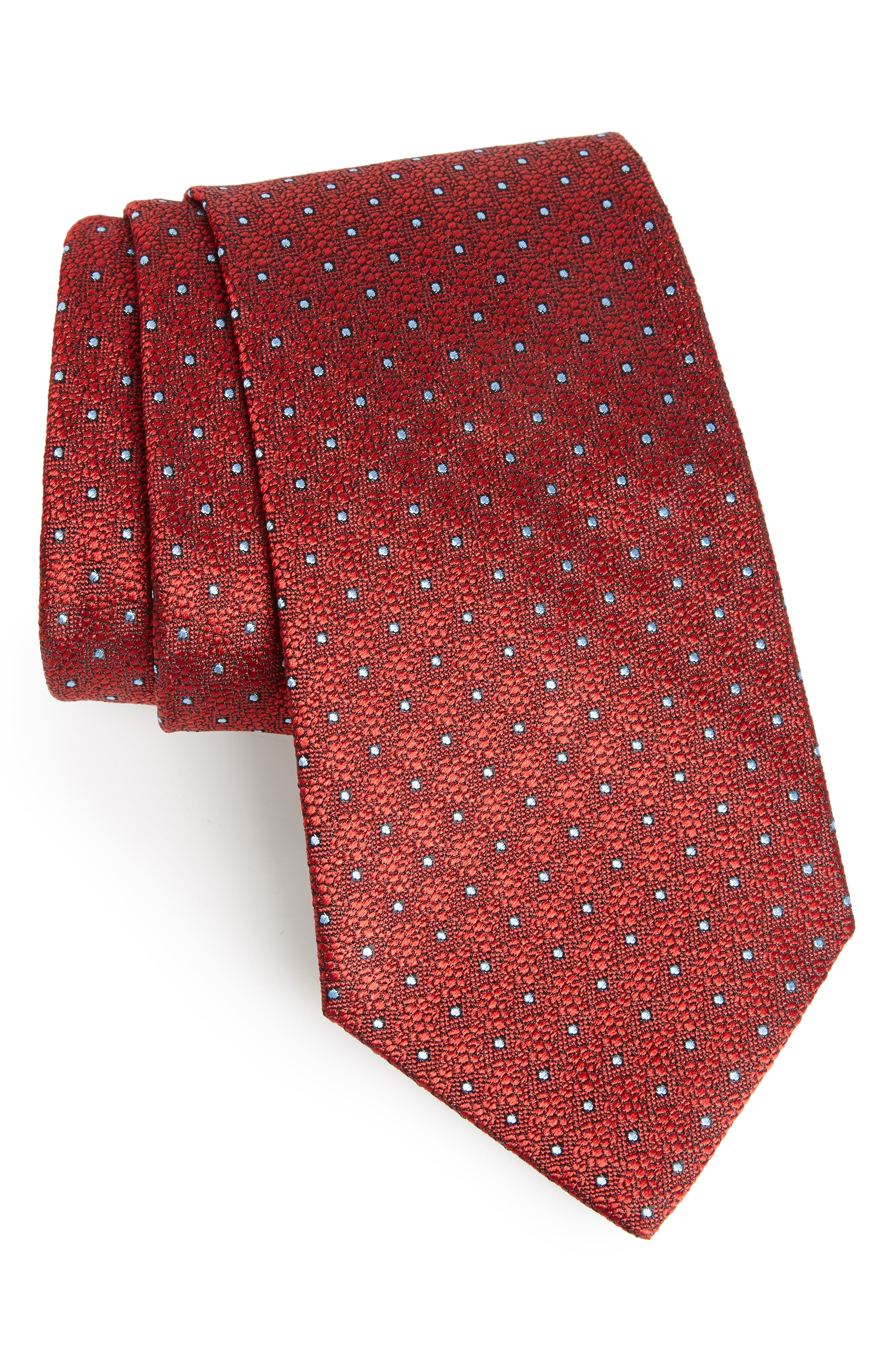 Dot Silk Tie,                         Main,                         color, Red