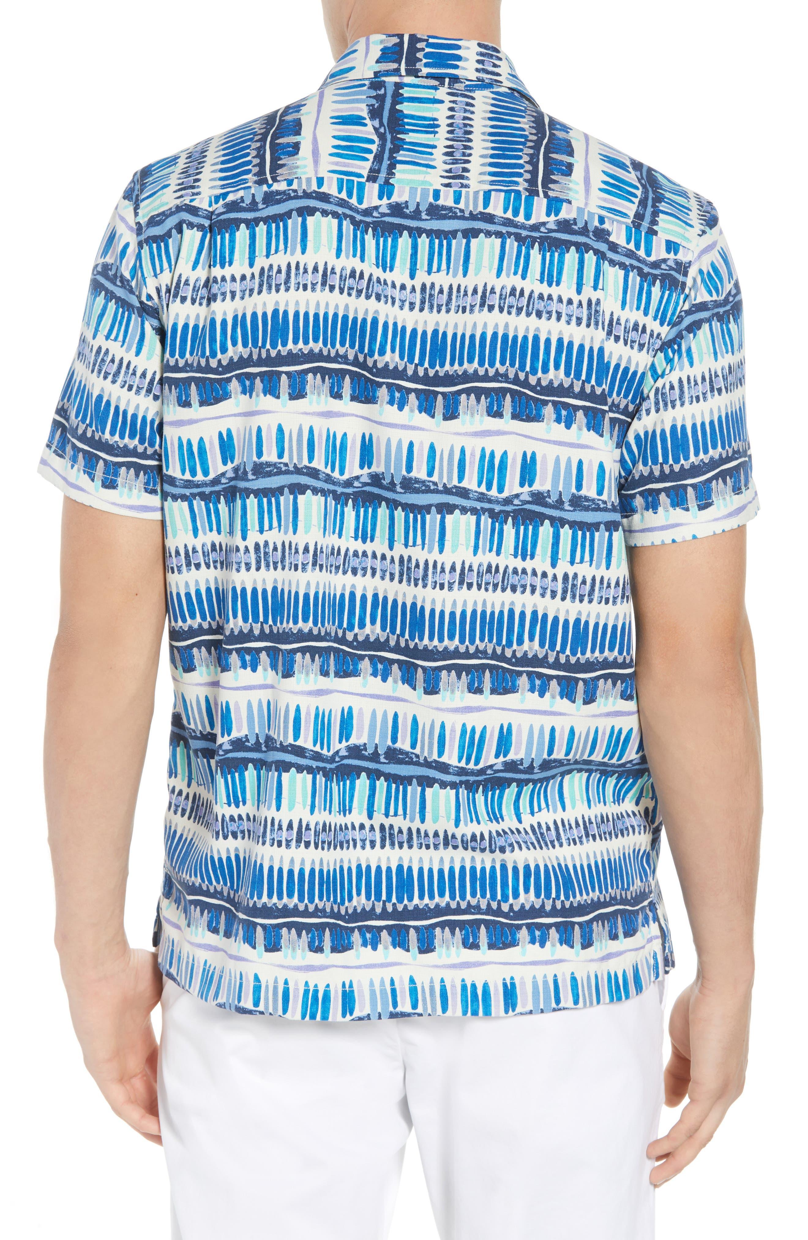 Geo Surf Silk Blend Camp Shirt,                             Alternate thumbnail 3, color,                             Old Royal