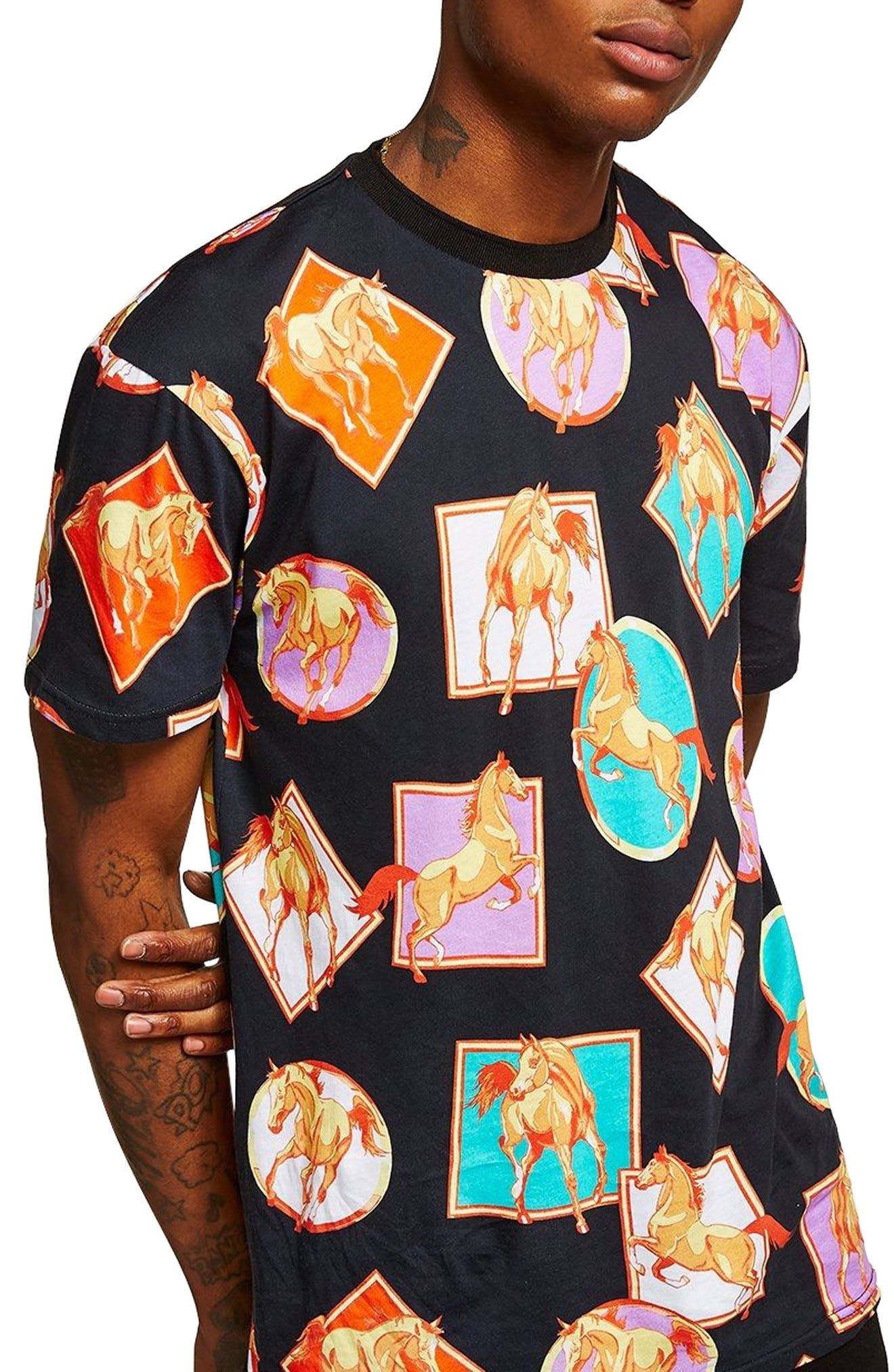 Oversize Horse Print T-Shirt,                             Main thumbnail 1, color,                             Black Multi