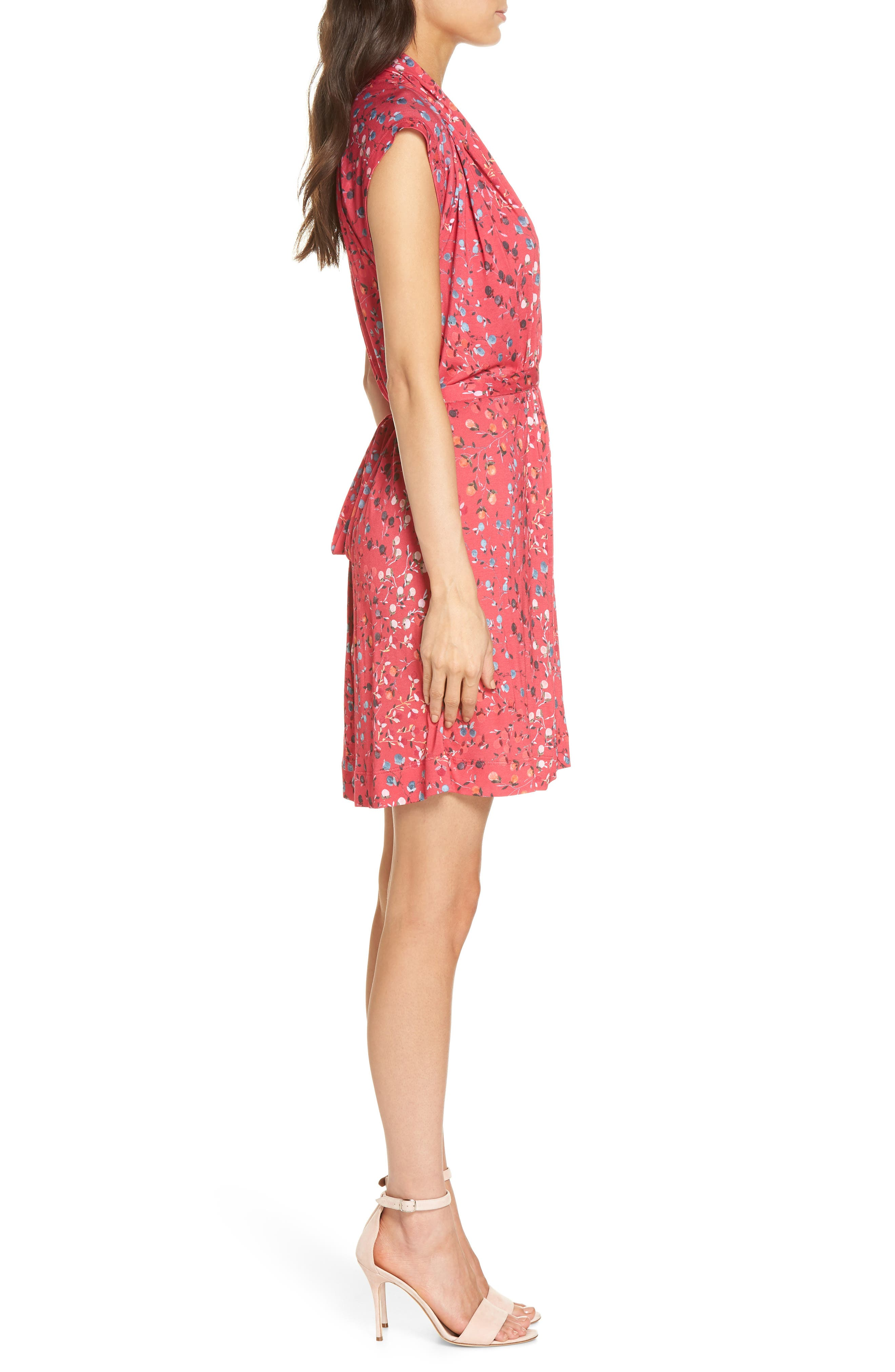Frances Jersey Dress,                             Alternate thumbnail 3, color,                             Watermelon